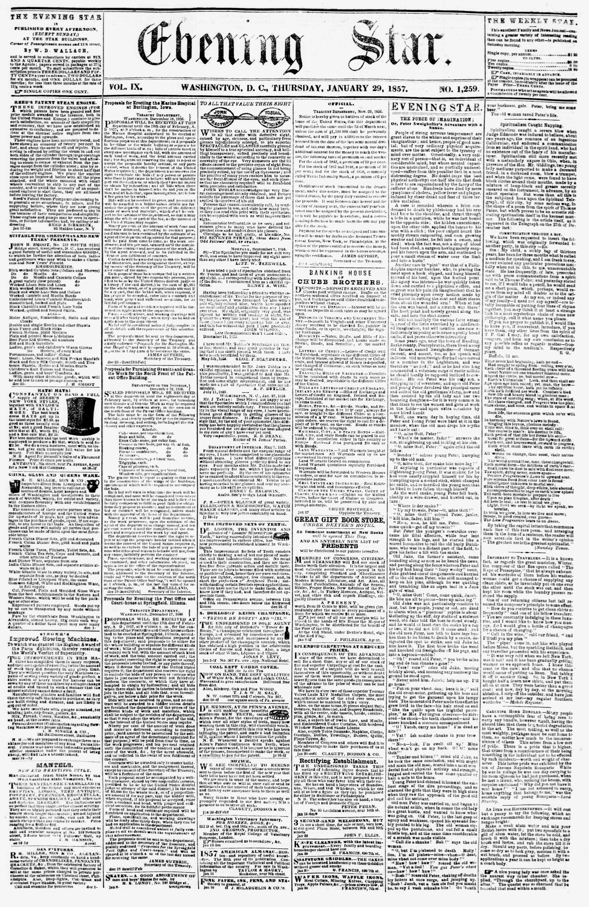 Newspaper of Evening Star dated January 29, 1857 Page 1