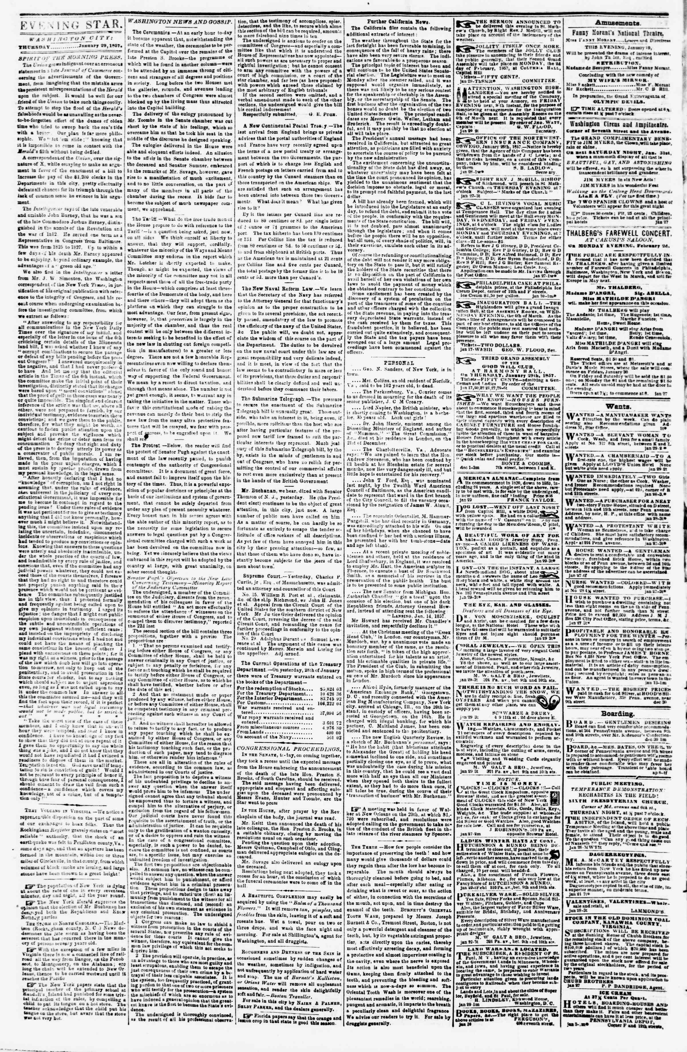 Newspaper of Evening Star dated January 29, 1857 Page 2