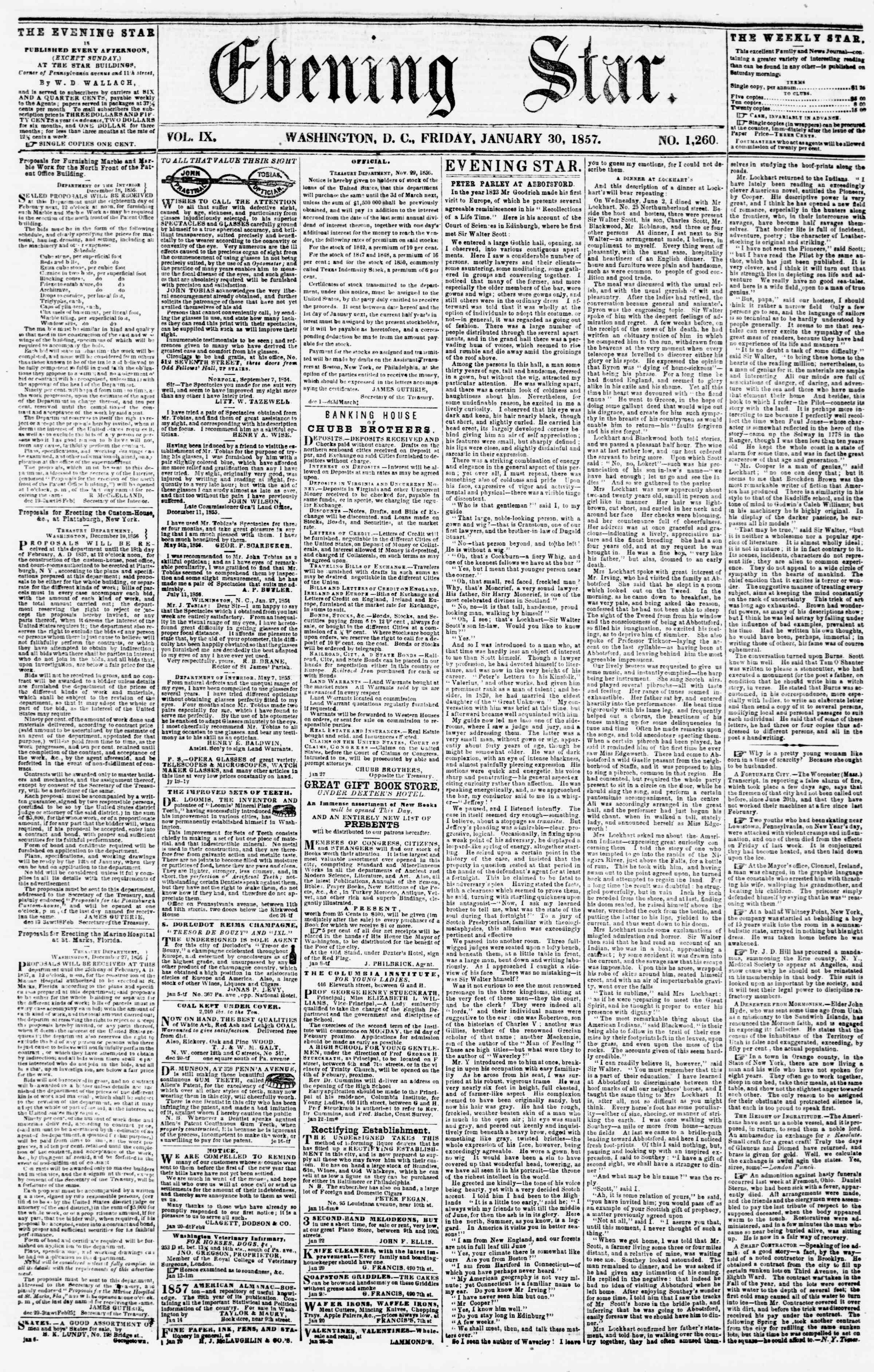 Newspaper of Evening Star dated January 30, 1857 Page 1