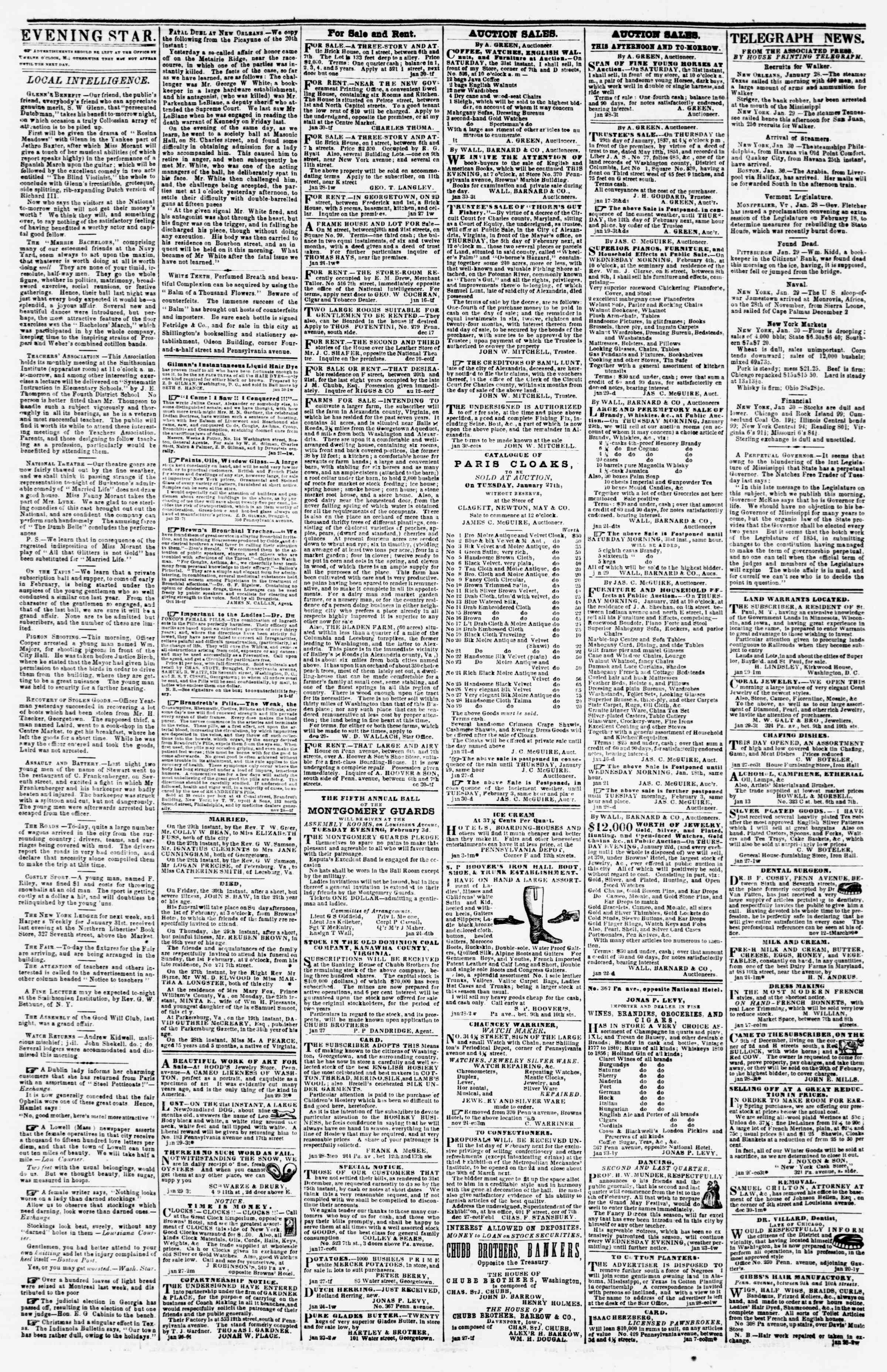Newspaper of Evening Star dated January 30, 1857 Page 3