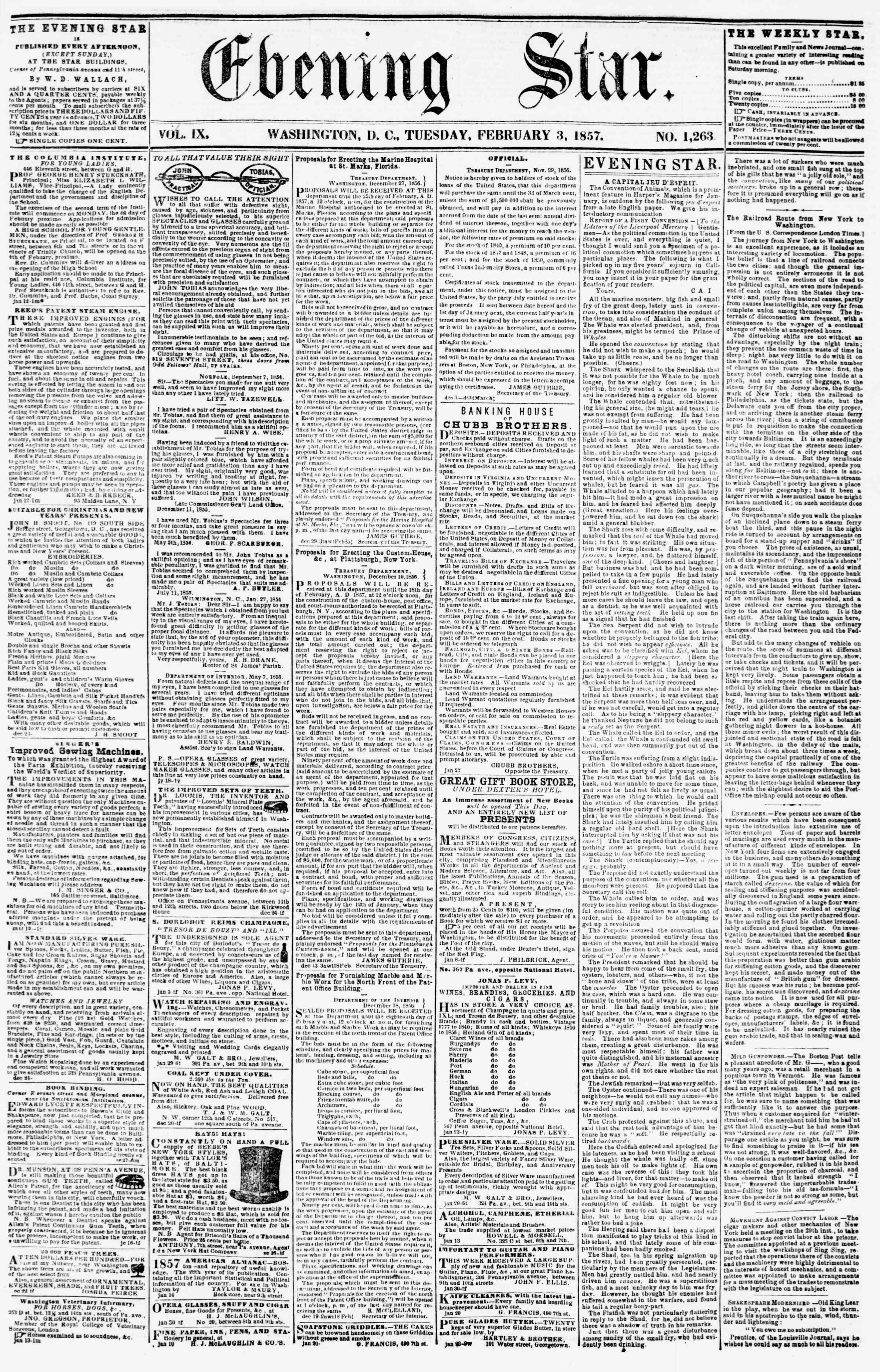3 Şubat 1857 tarihli Evening Star Gazetesi Sayfa 1