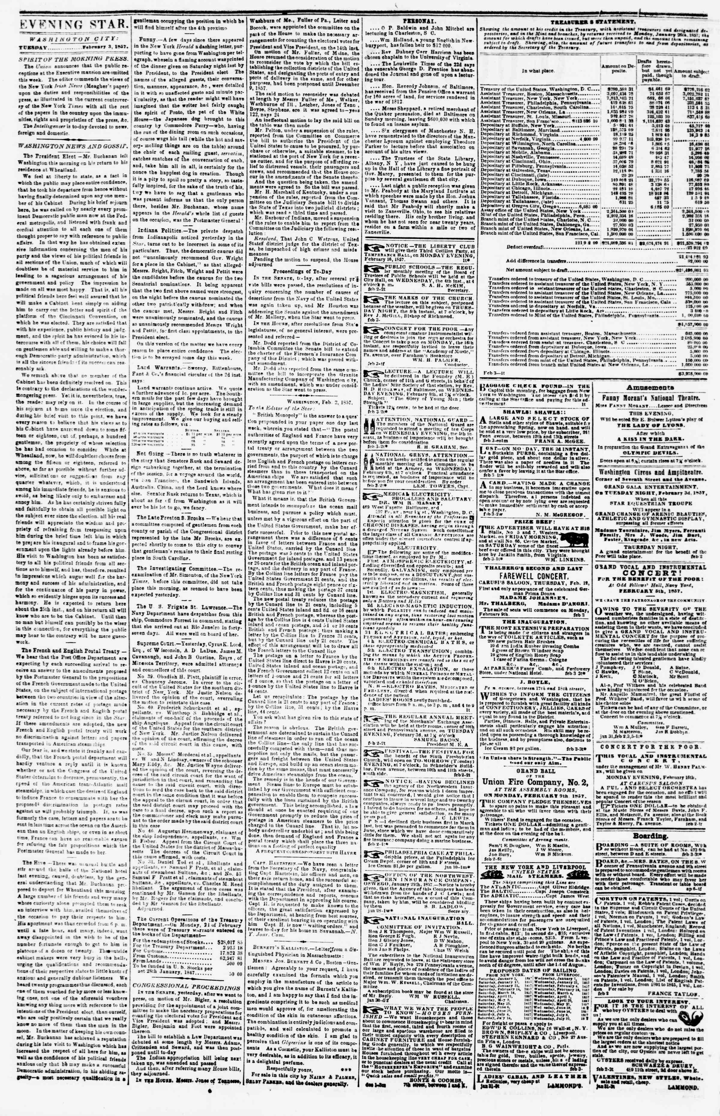 Newspaper of Evening Star dated February 3, 1857 Page 2