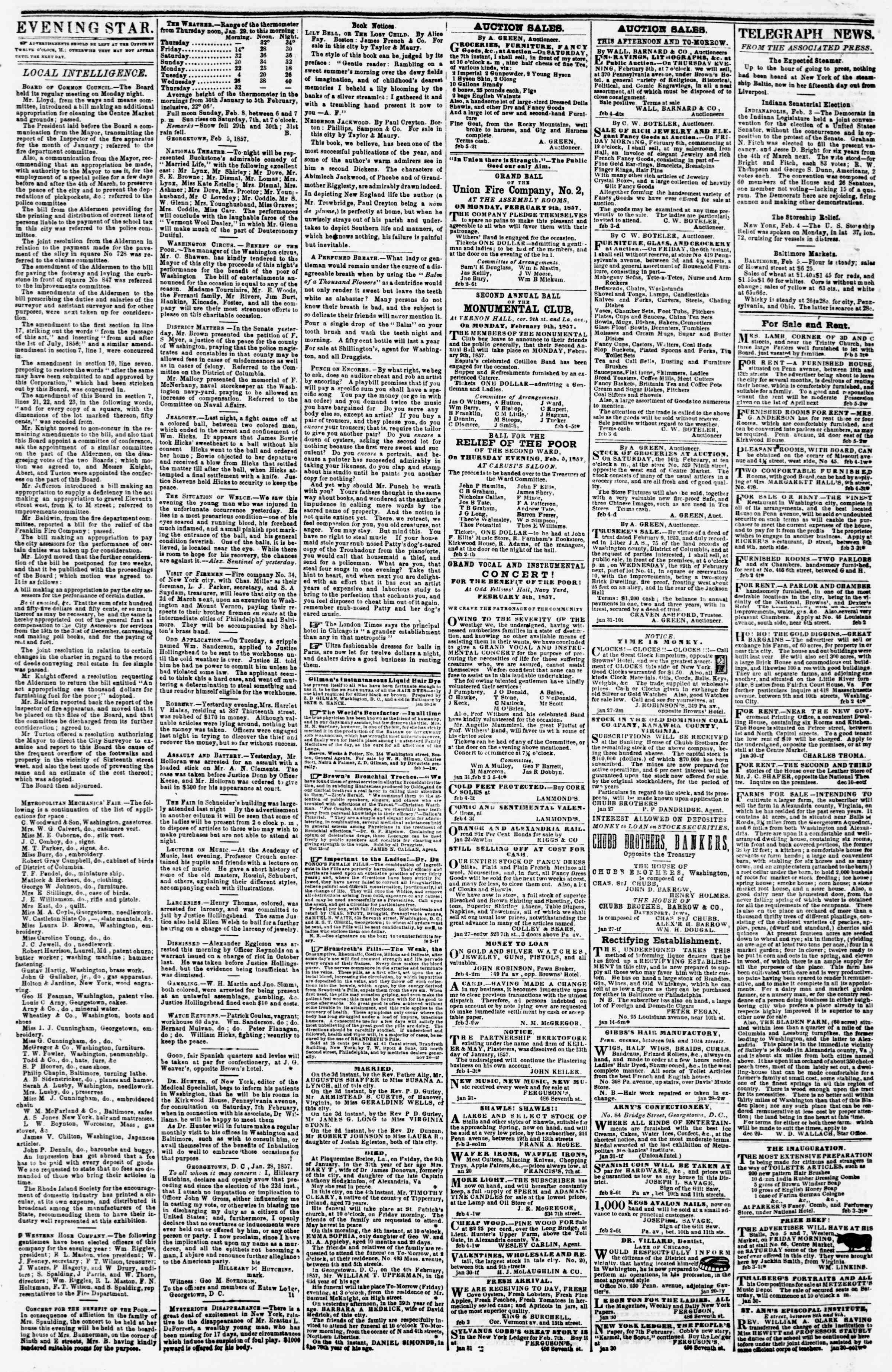 Newspaper of Evening Star dated February 5, 1857 Page 3