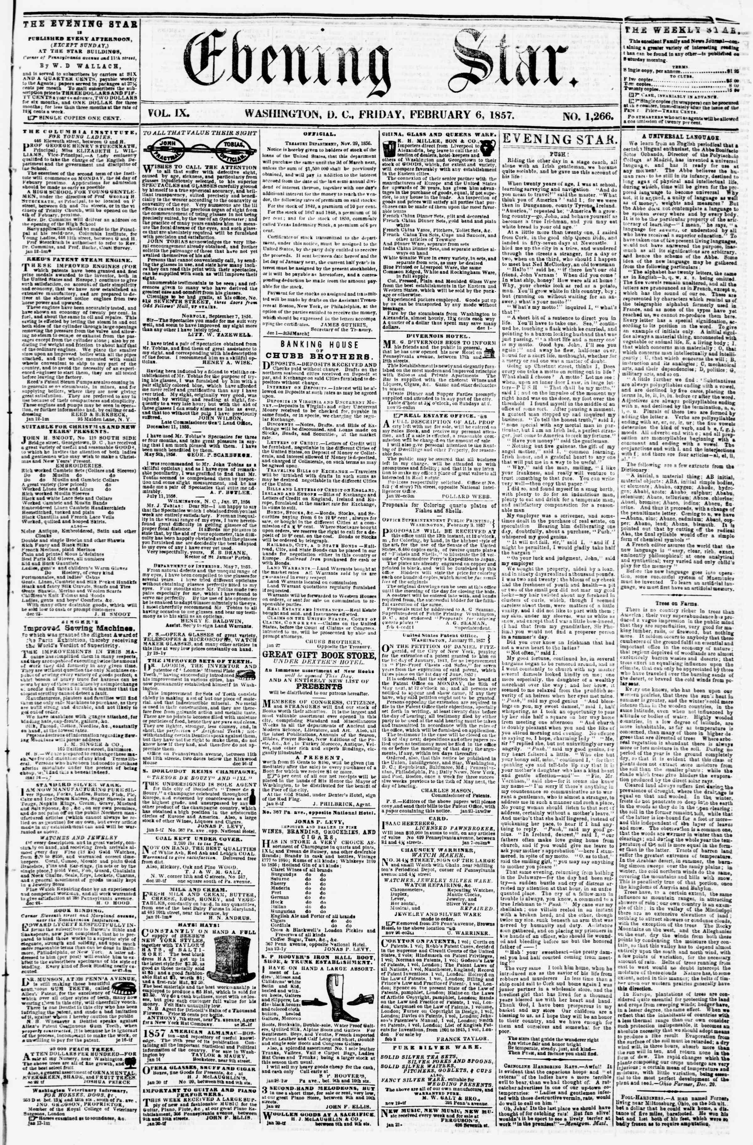 Newspaper of Evening Star dated February 6, 1857 Page 1