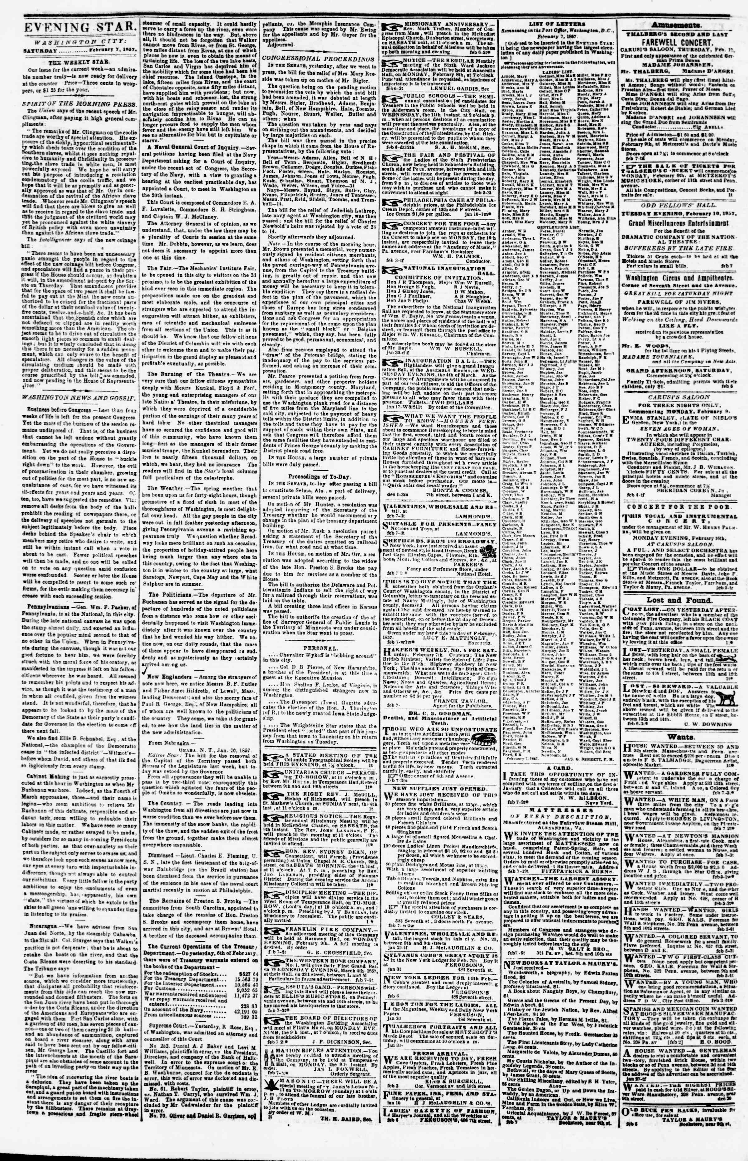 Newspaper of Evening Star dated February 7, 1857 Page 2