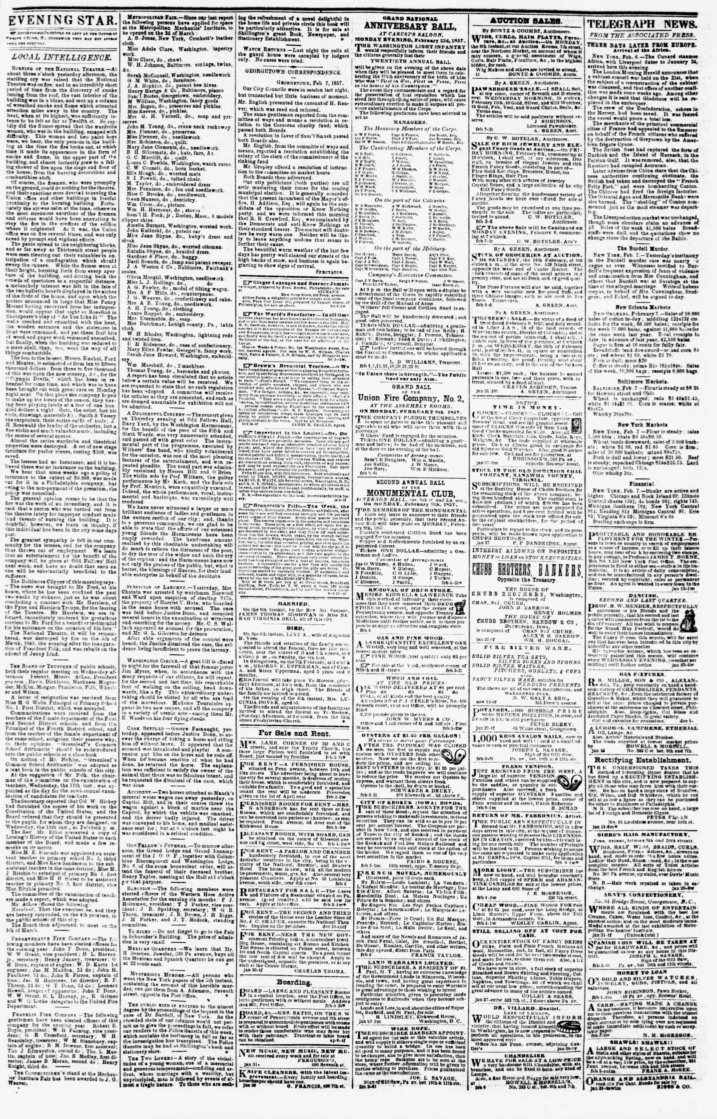Newspaper of Evening Star dated February 7, 1857 Page 3
