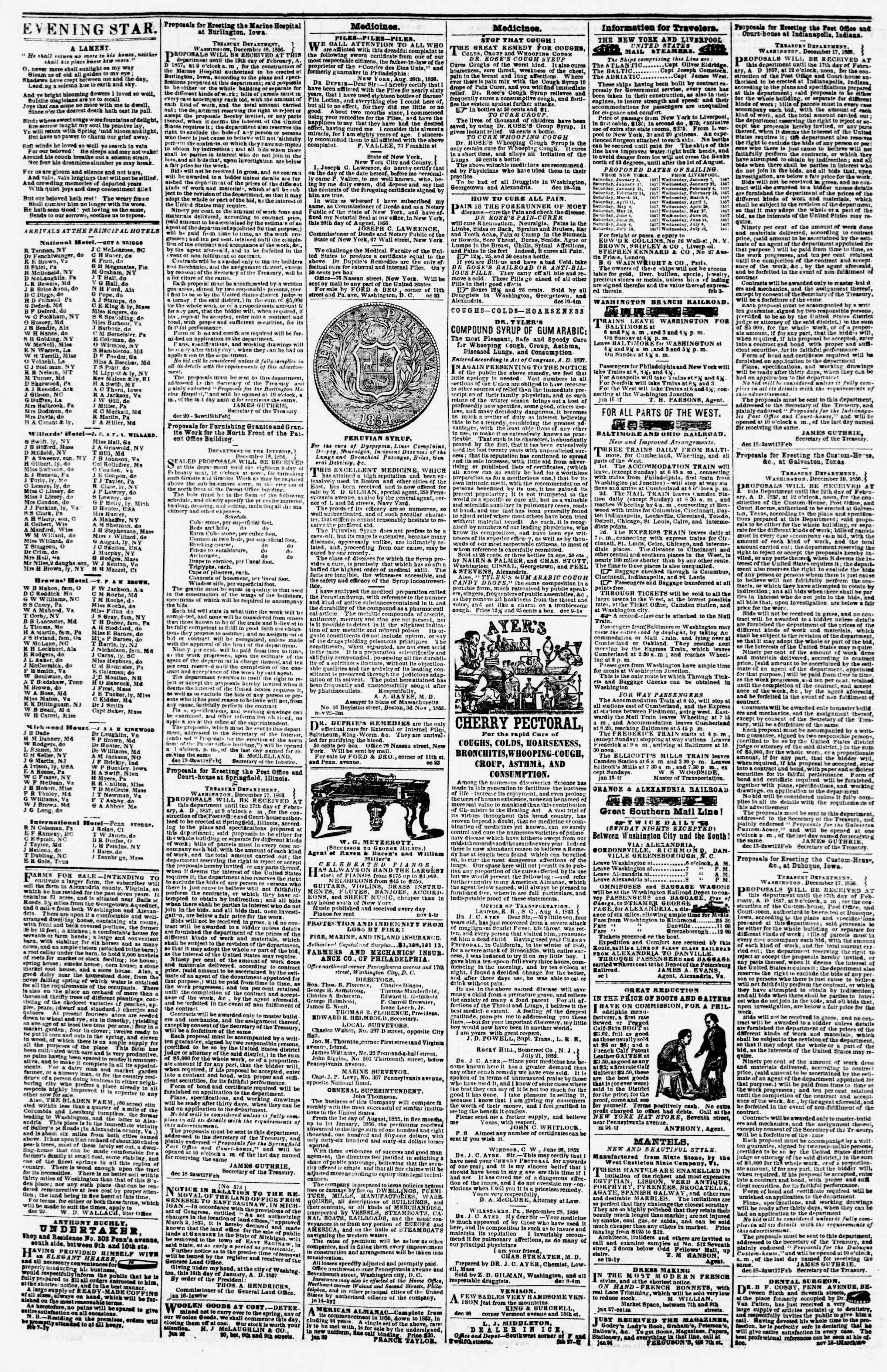 Newspaper of Evening Star dated February 7, 1857 Page 4
