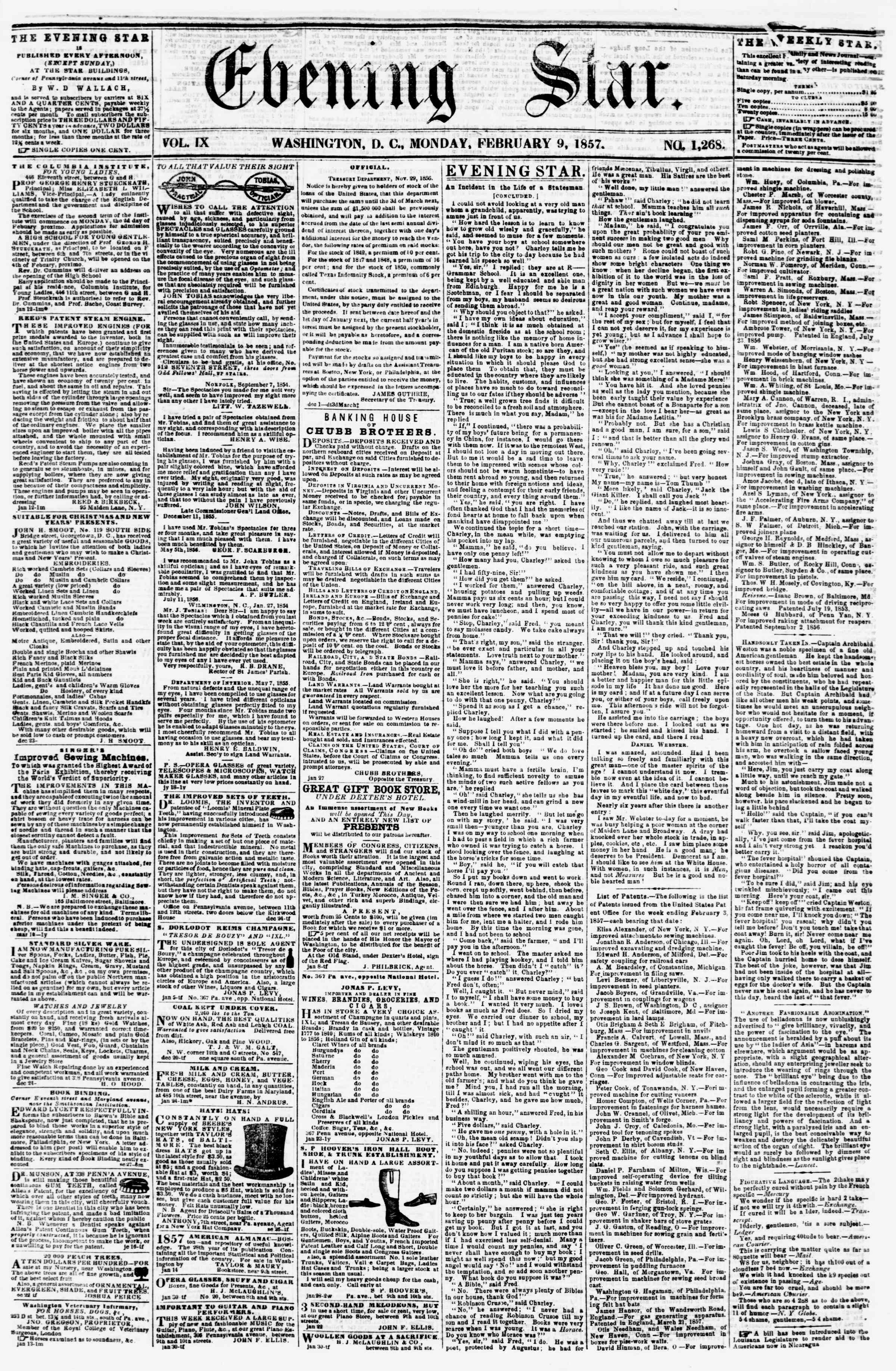 Newspaper of Evening Star dated February 9, 1857 Page 1