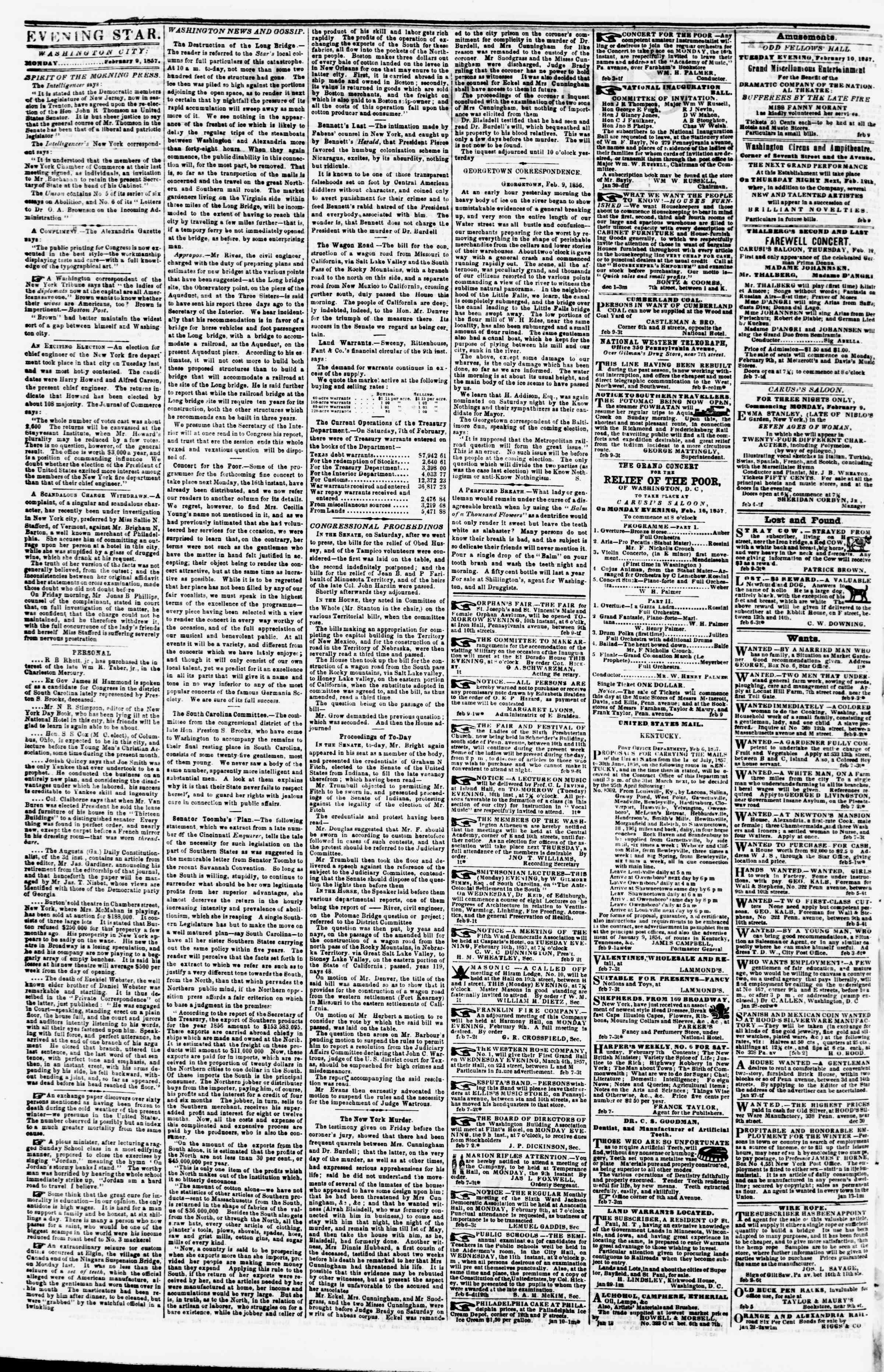 9 Şubat 1857 tarihli Evening Star Gazetesi Sayfa 2
