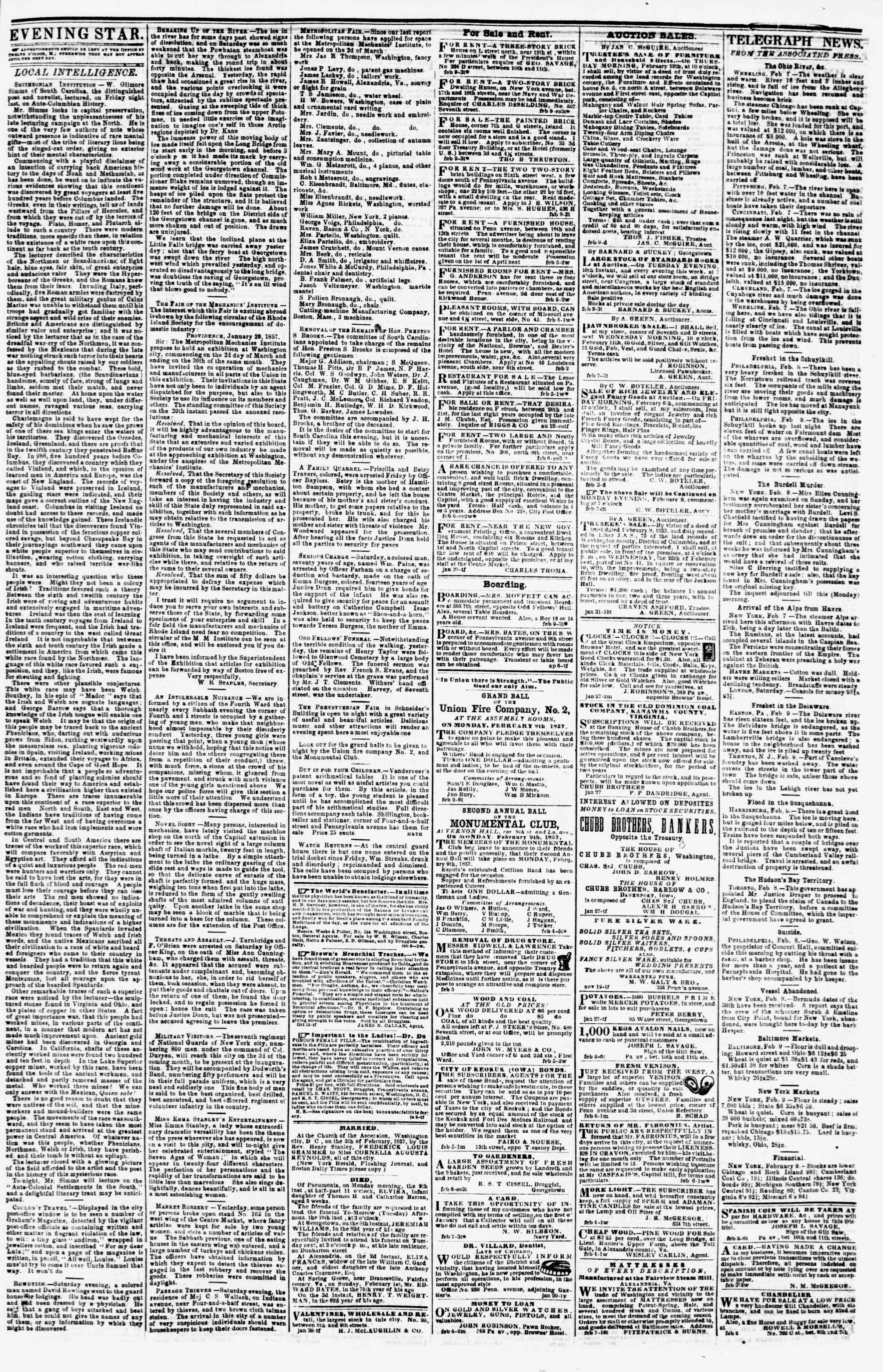 Newspaper of Evening Star dated February 9, 1857 Page 3