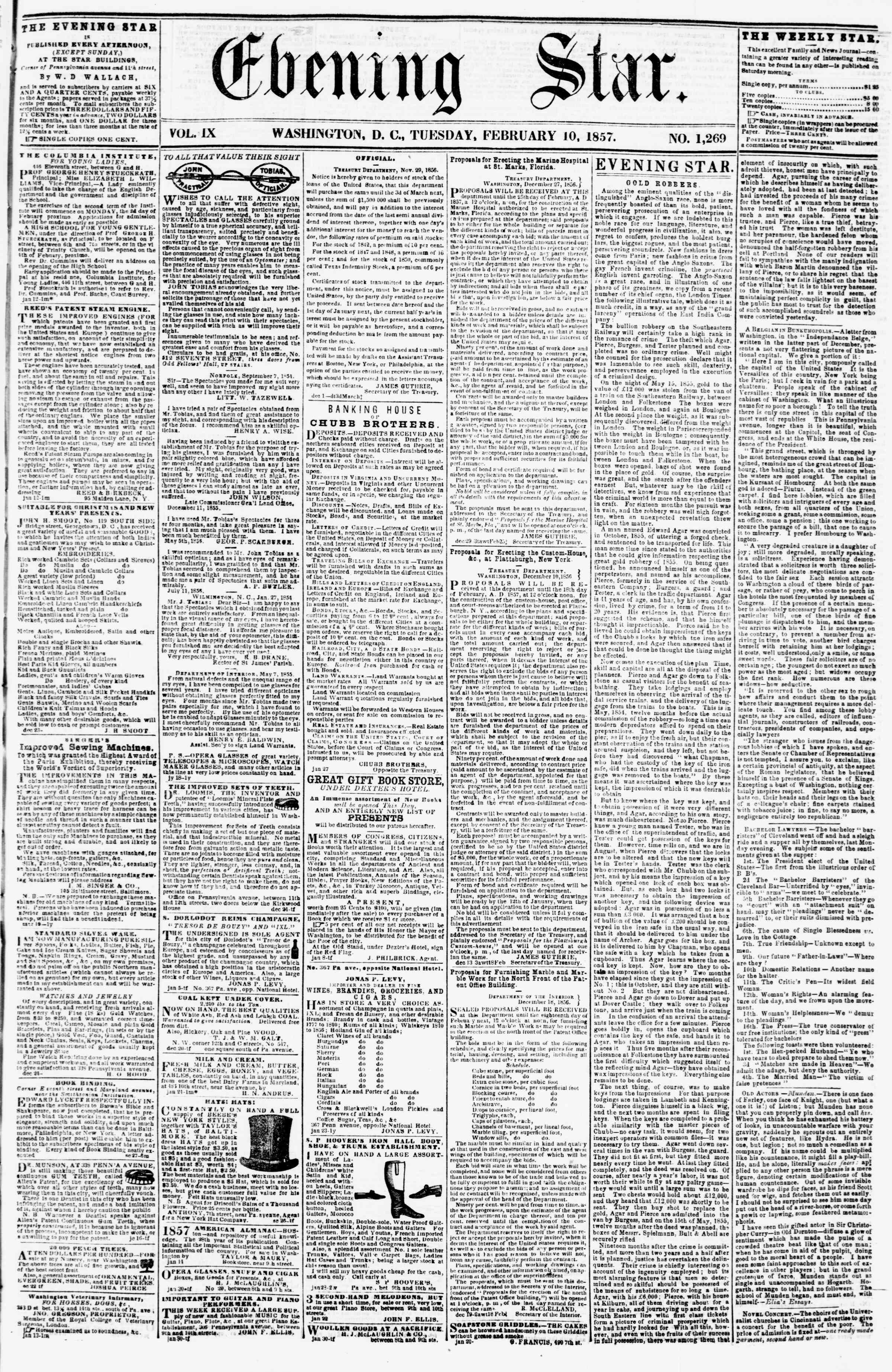 Newspaper of Evening Star dated February 10, 1857 Page 1