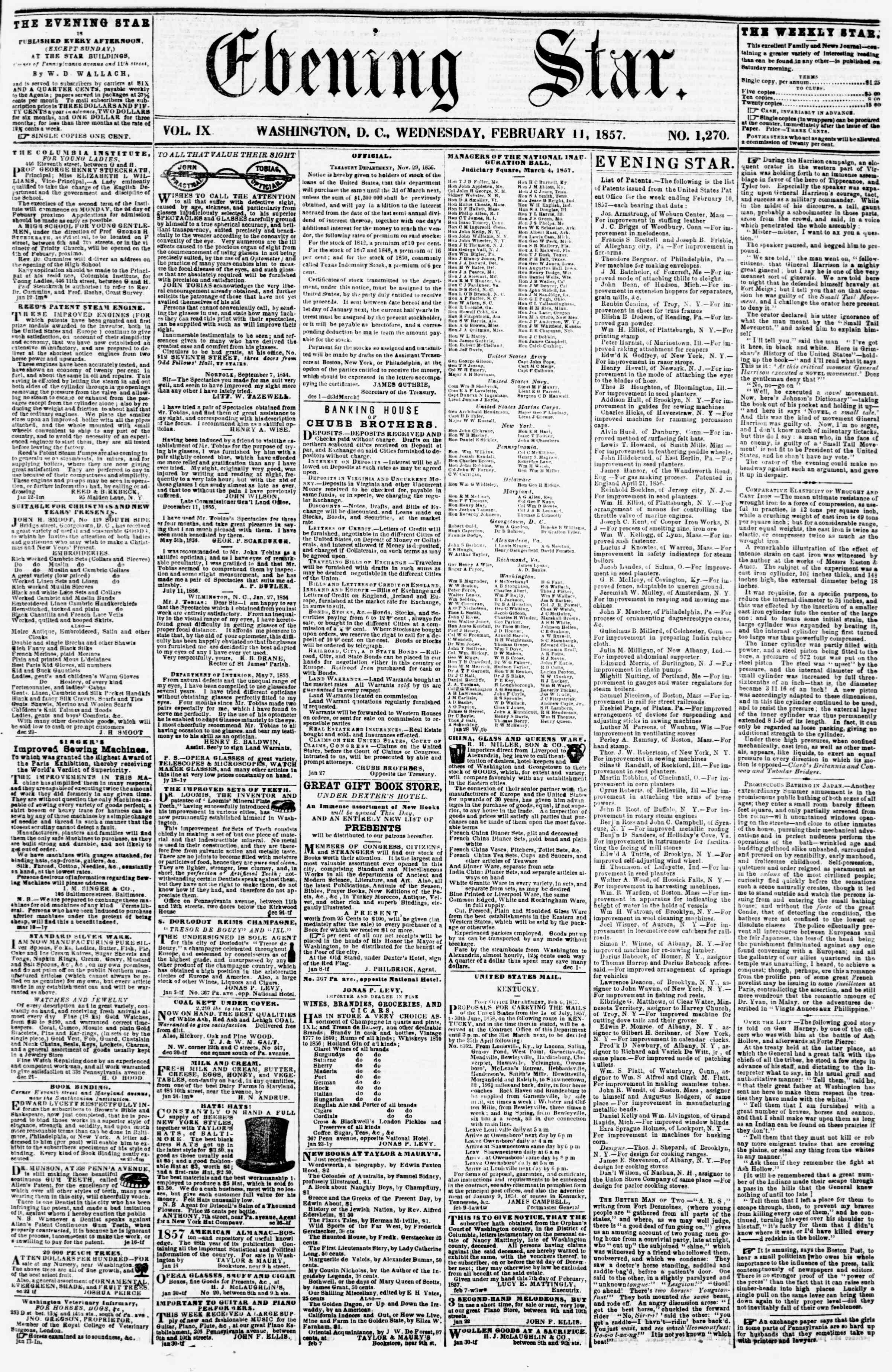 Newspaper of Evening Star dated February 11, 1857 Page 1