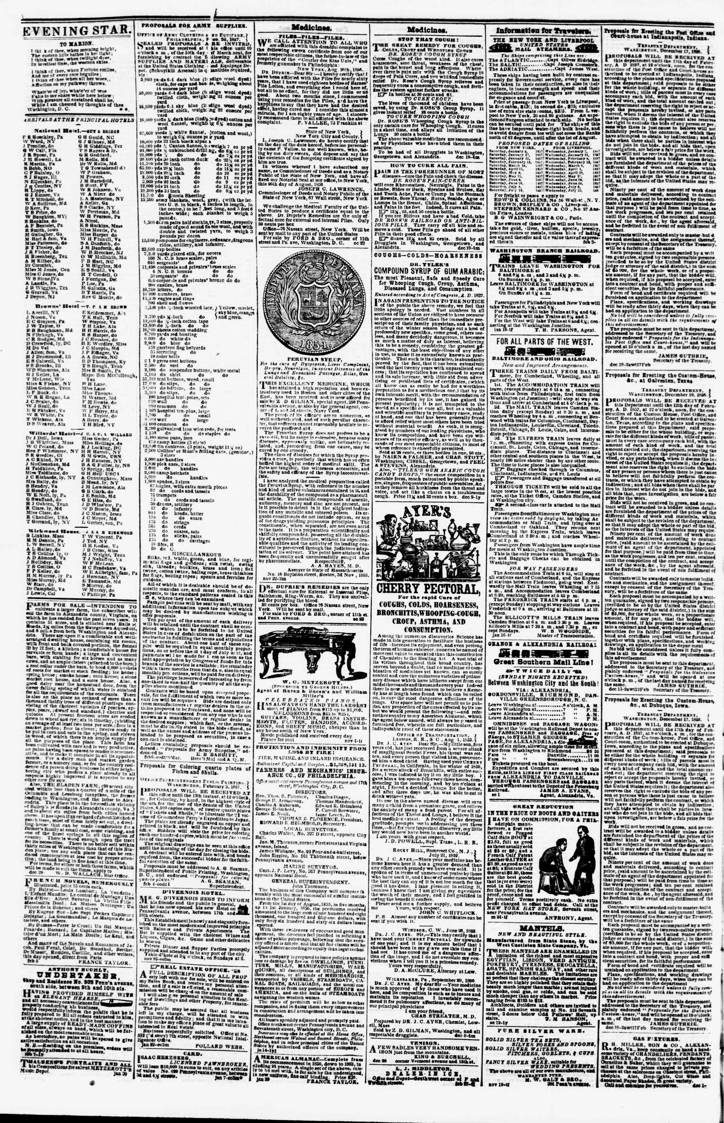 Newspaper of Evening Star dated February 11, 1857 Page 4