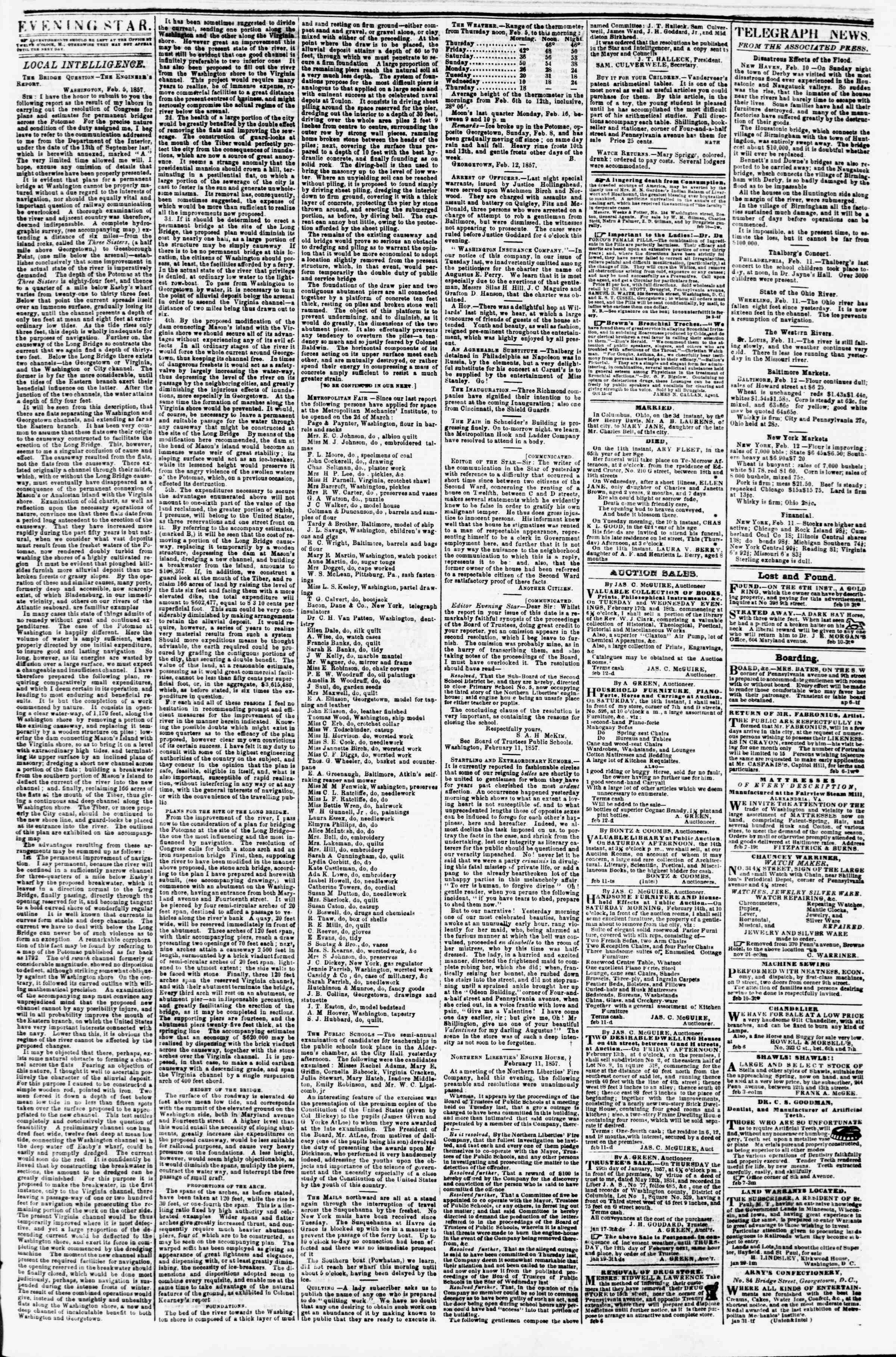 Newspaper of Evening Star dated February 12, 1857 Page 3