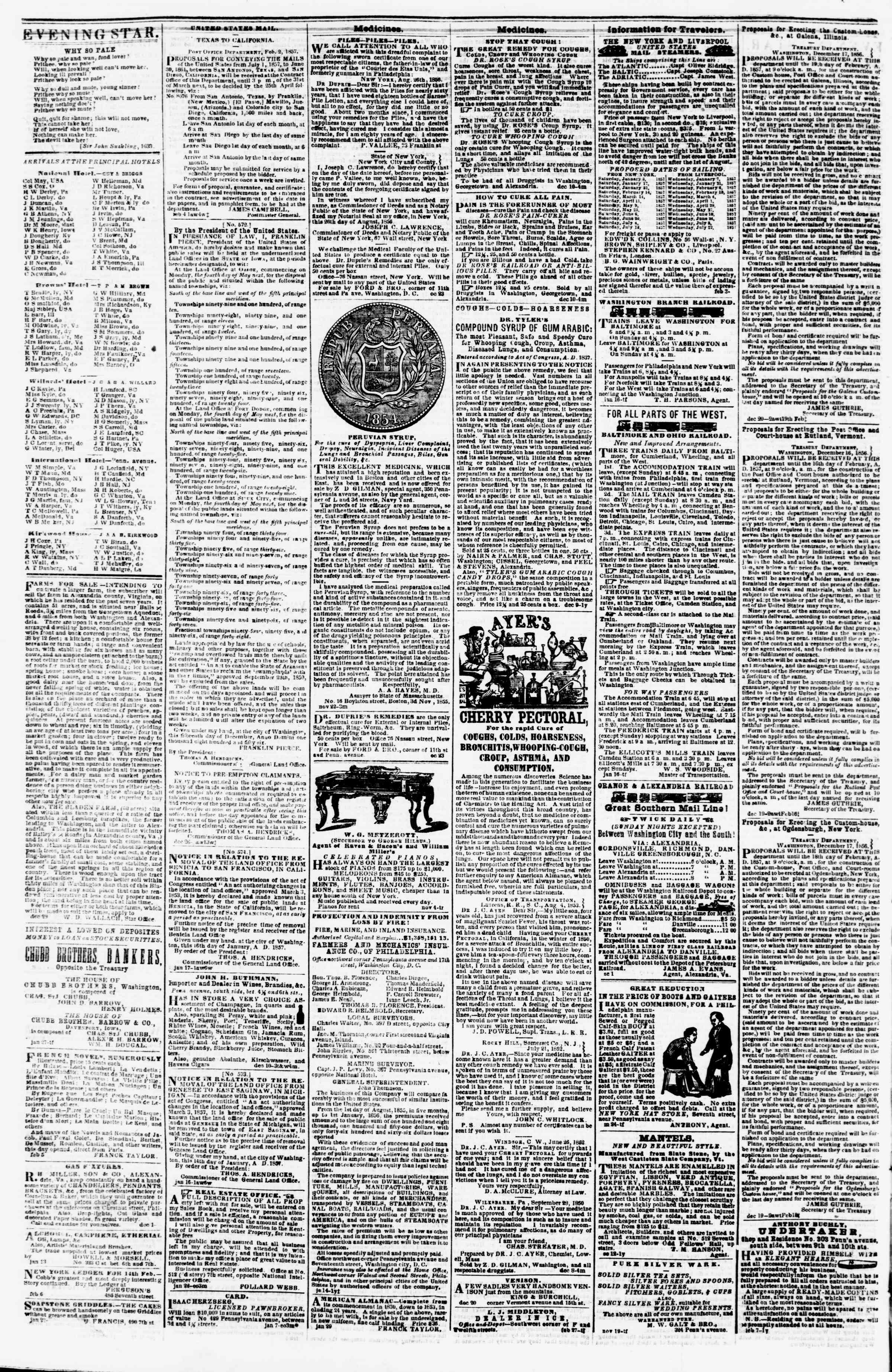 Newspaper of Evening Star dated February 12, 1857 Page 4