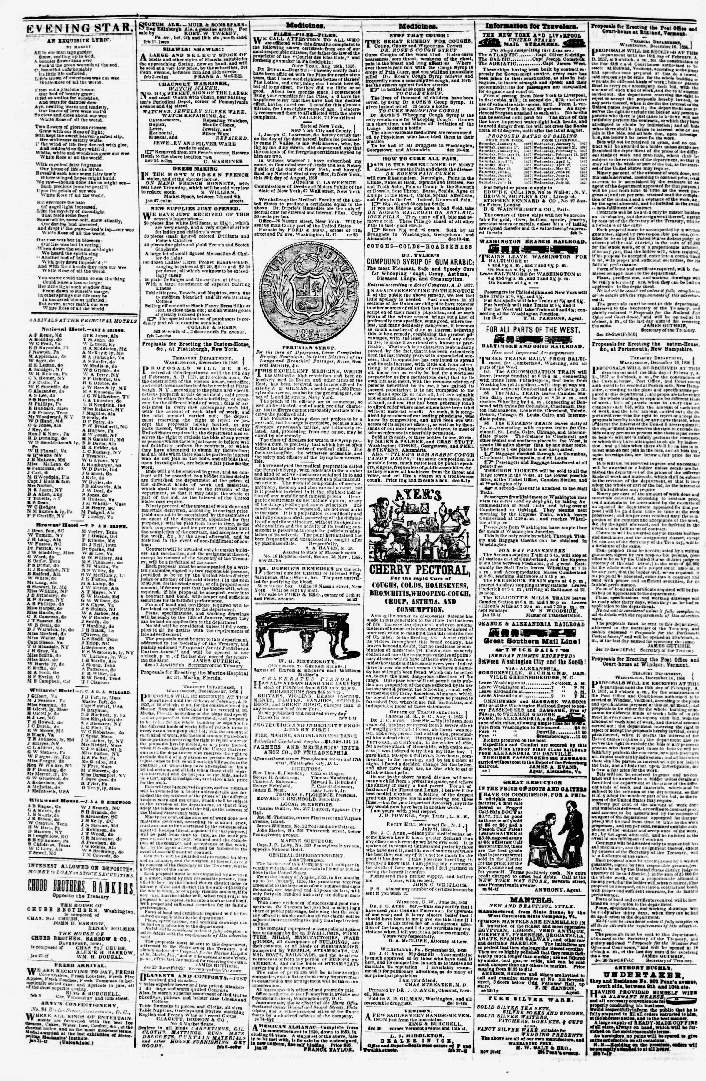 Newspaper of Evening Star dated February 14, 1857 Page 4