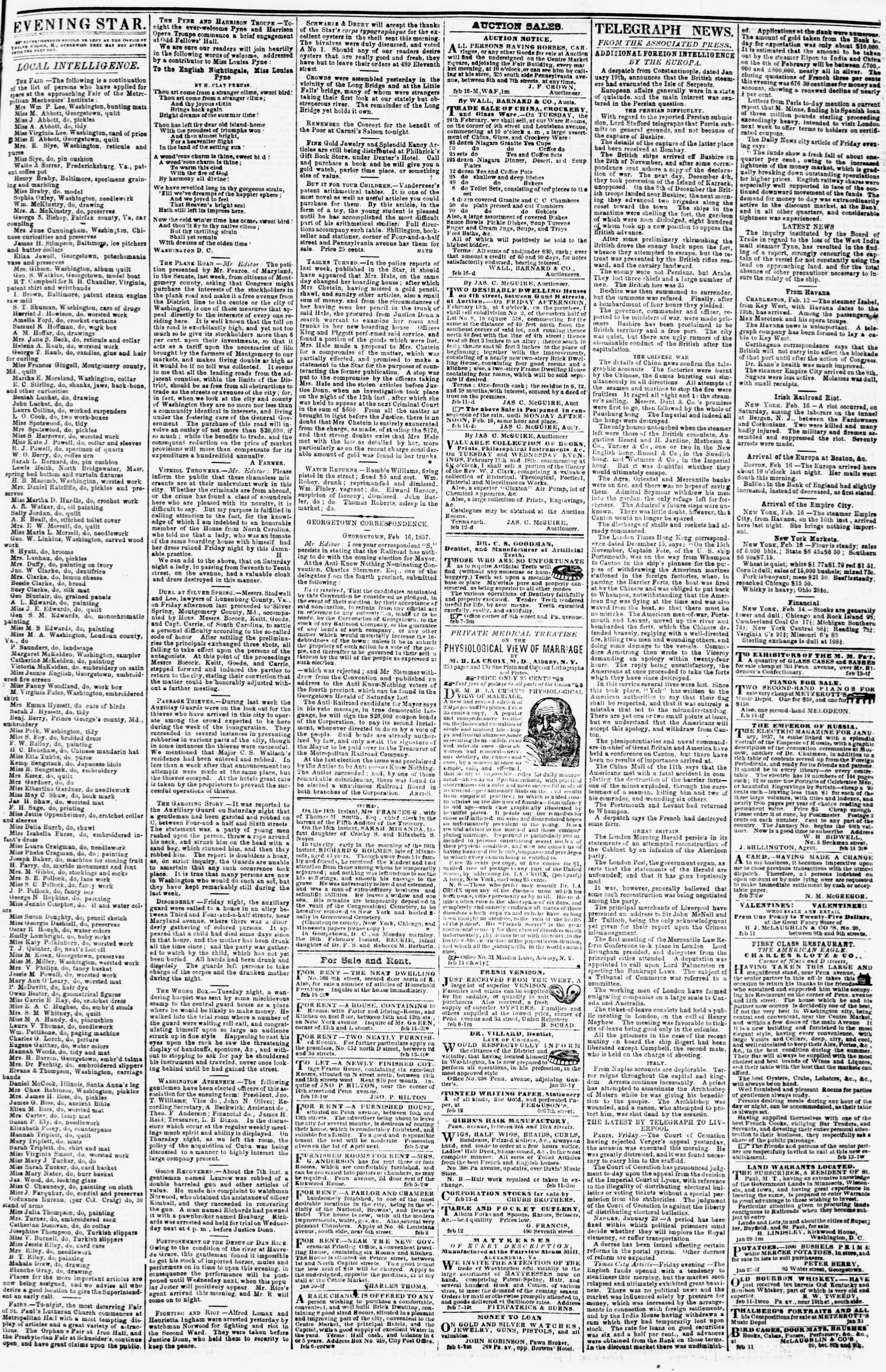 Newspaper of Evening Star dated February 16, 1857 Page 3