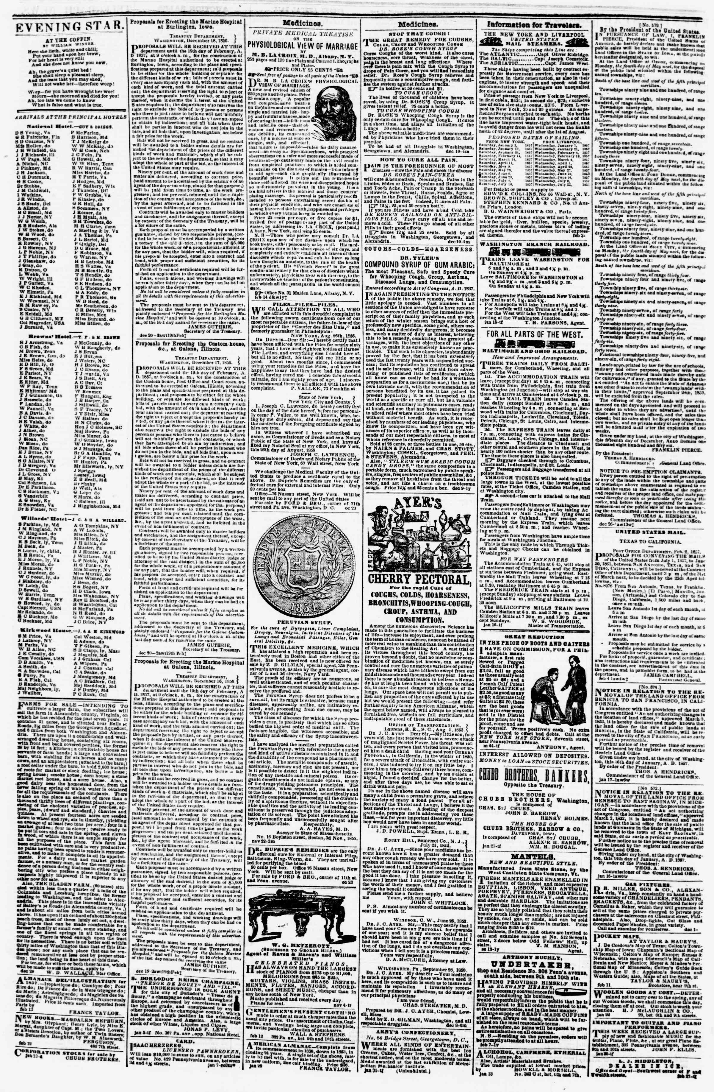 Newspaper of Evening Star dated February 18, 1857 Page 4