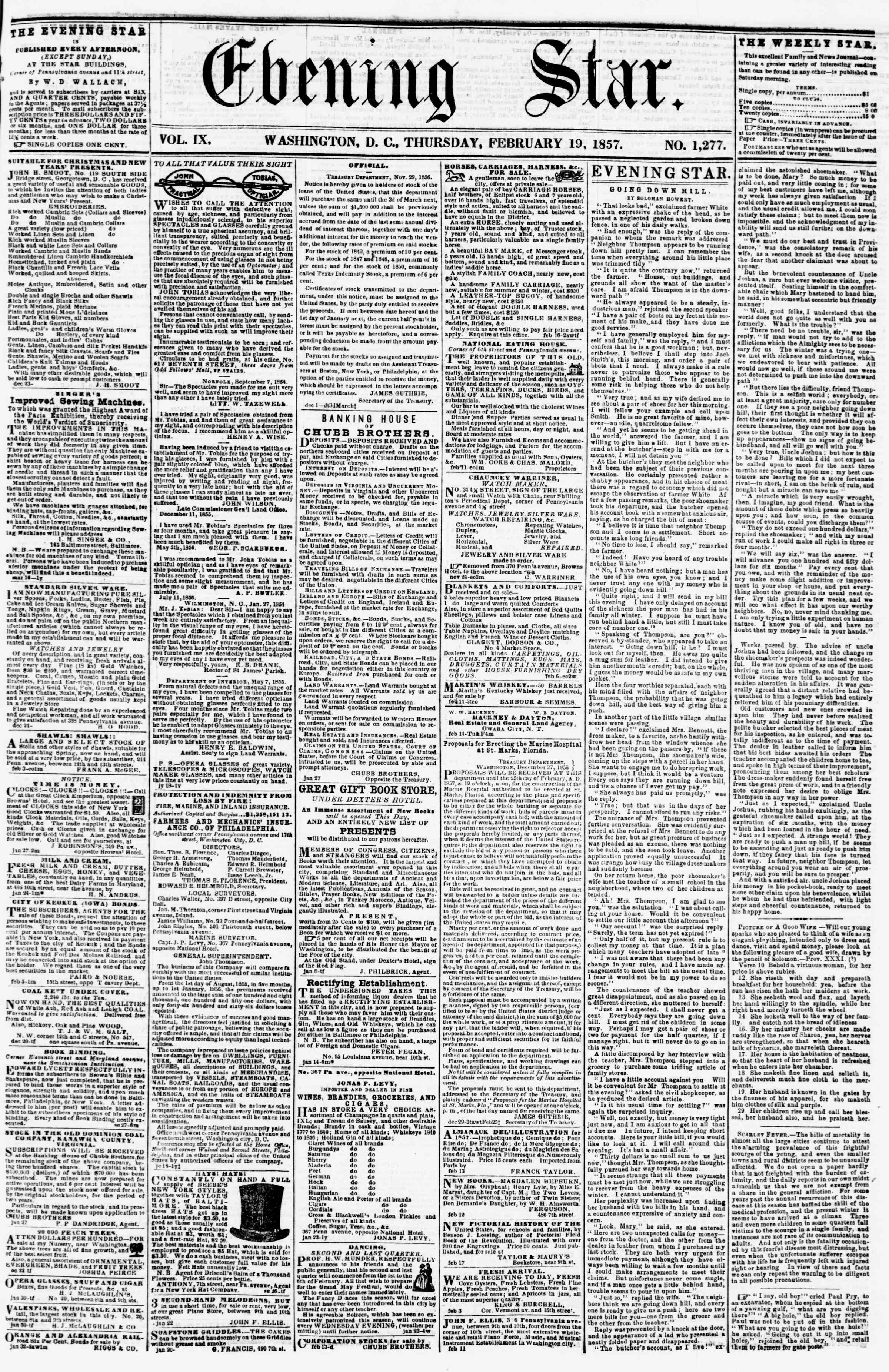Newspaper of Evening Star dated February 19, 1857 Page 1