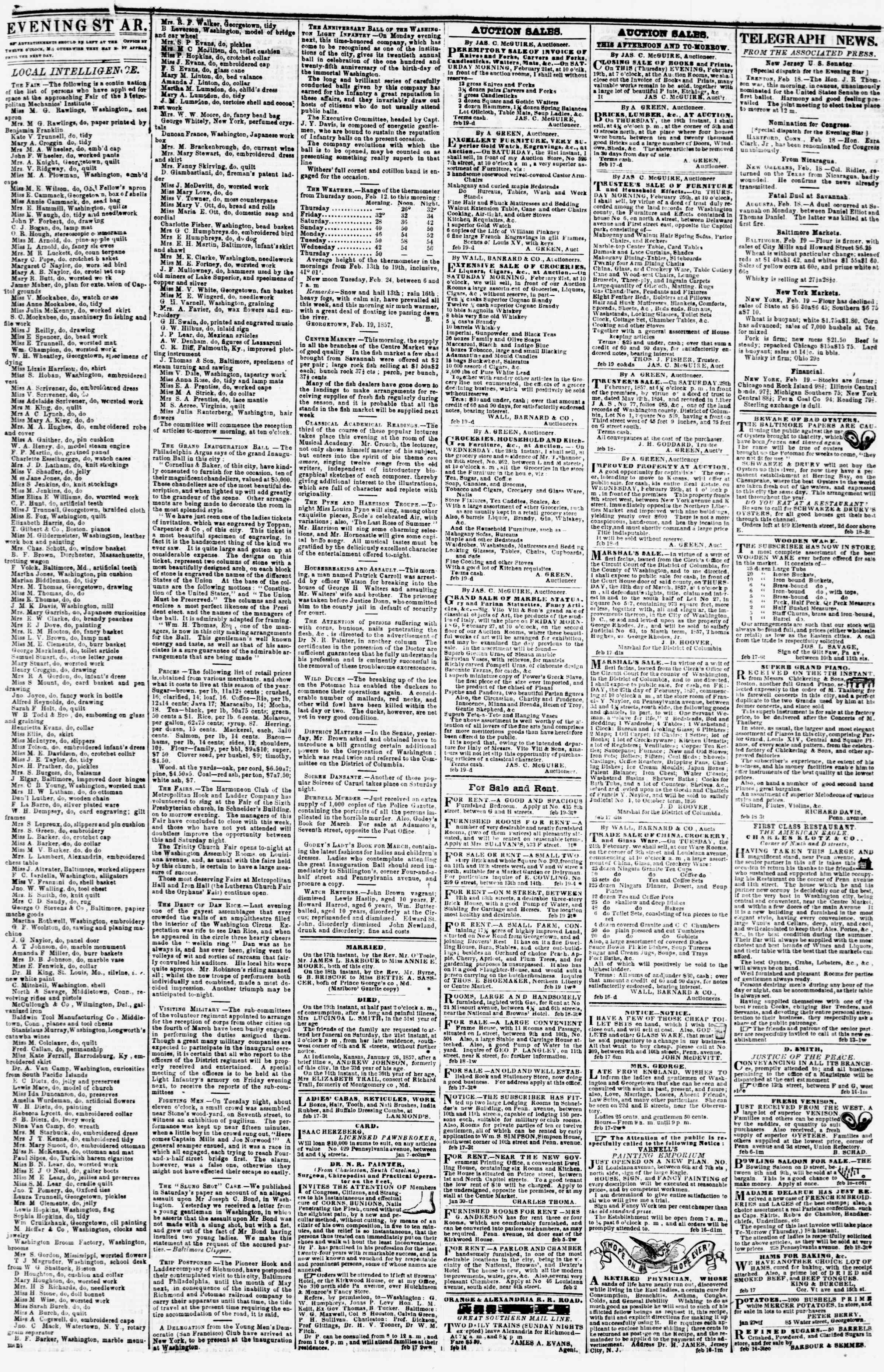 Newspaper of Evening Star dated February 19, 1857 Page 3