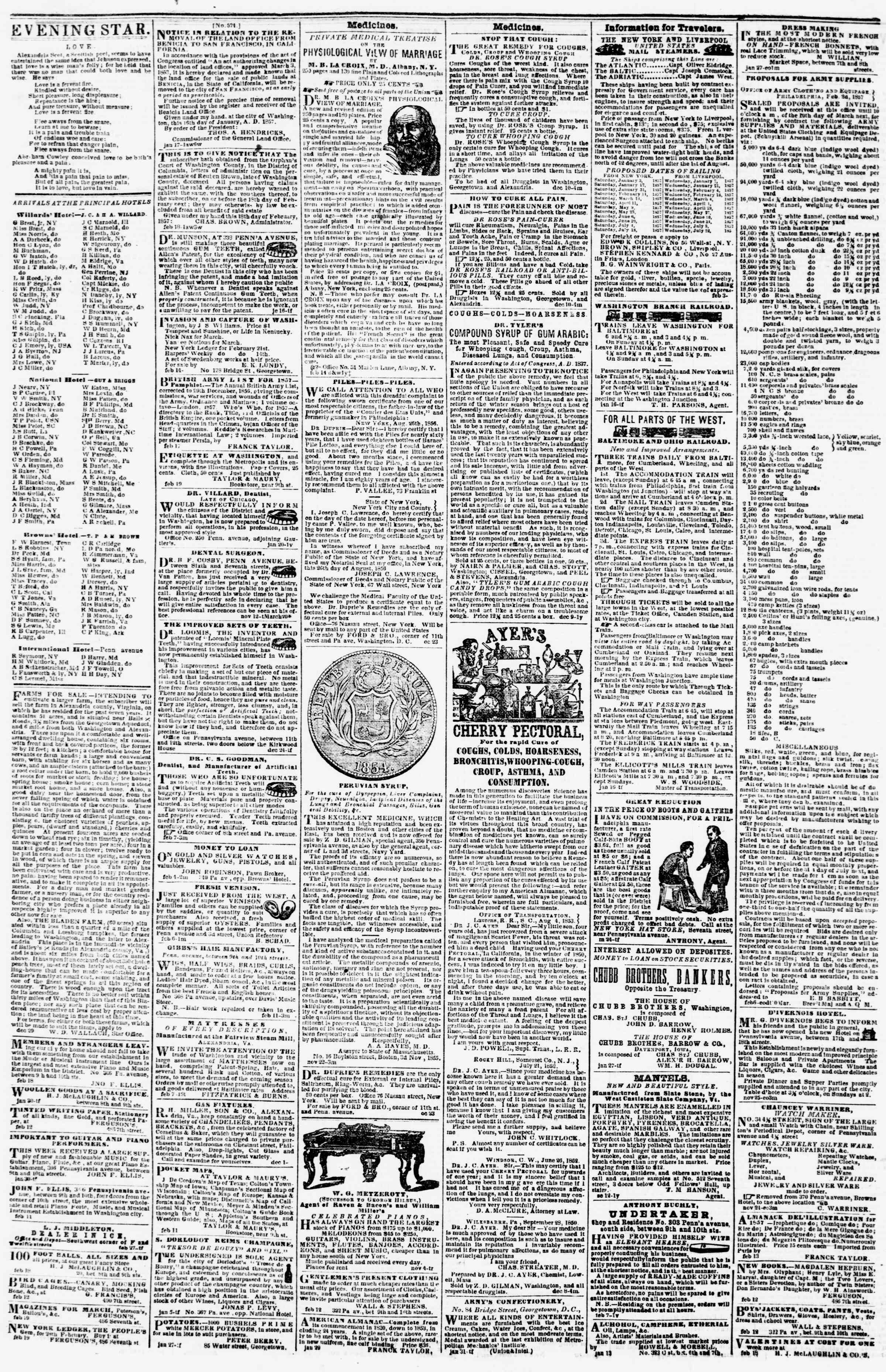 Newspaper of Evening Star dated February 21, 1857 Page 4