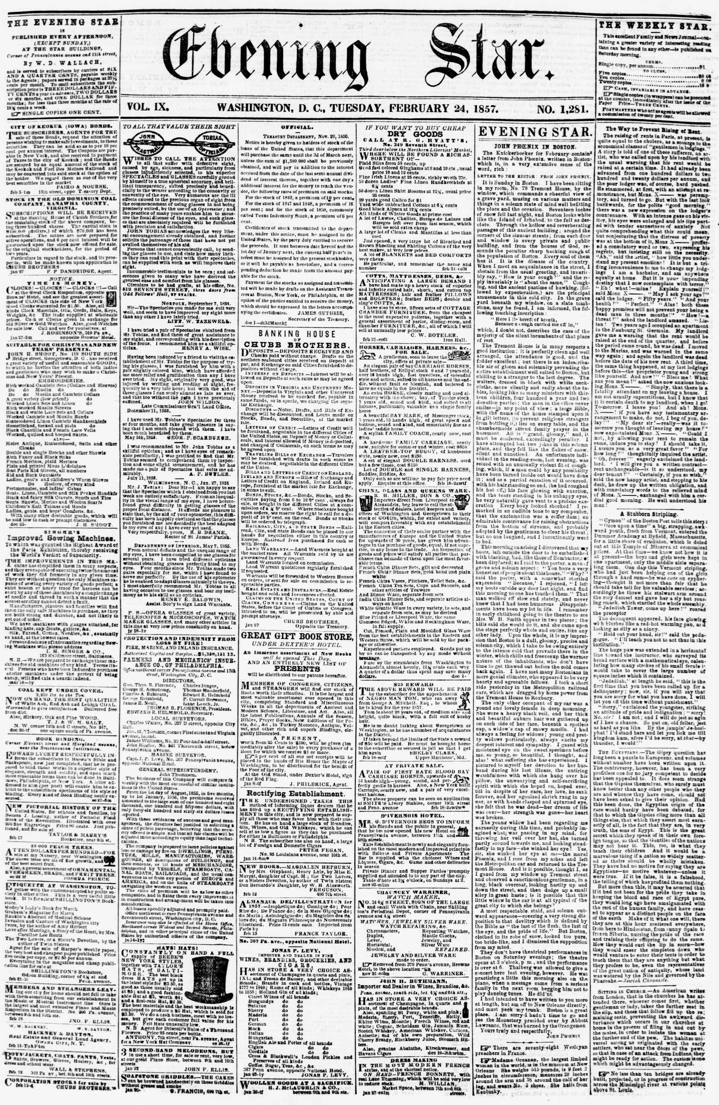 Newspaper of Evening Star dated February 24, 1857 Page 1