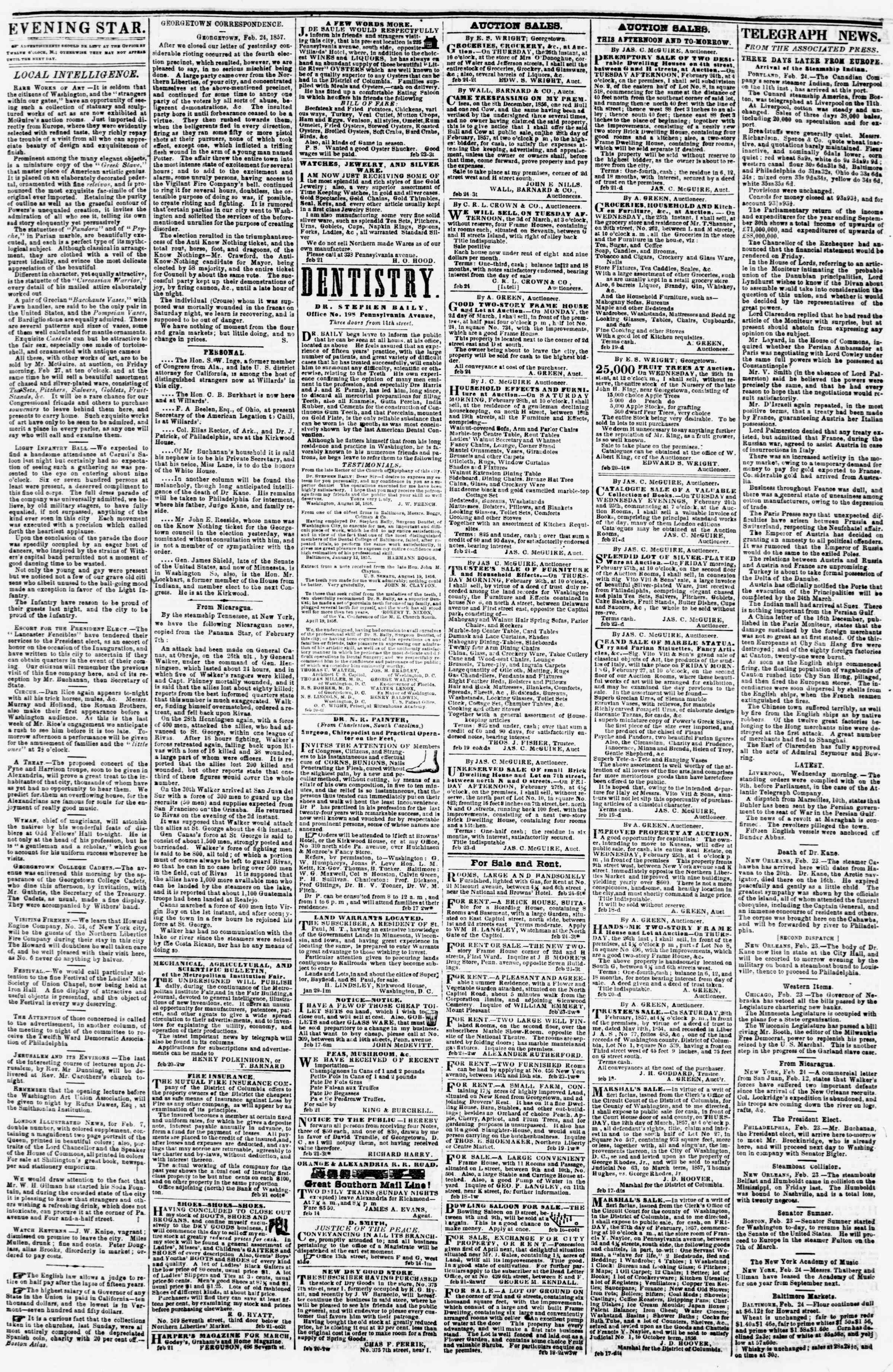 Newspaper of Evening Star dated February 24, 1857 Page 3
