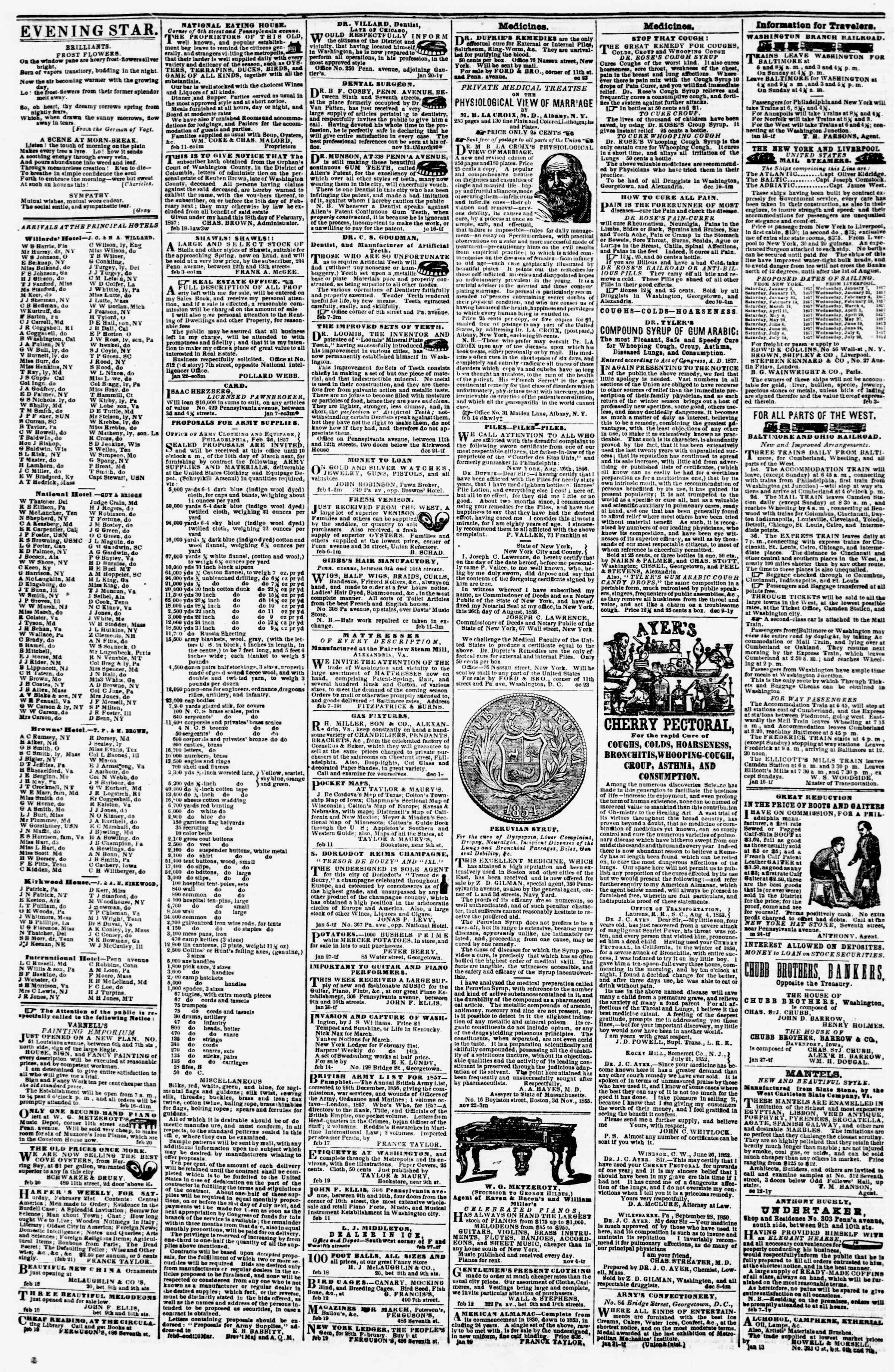 Newspaper of Evening Star dated February 24, 1857 Page 4