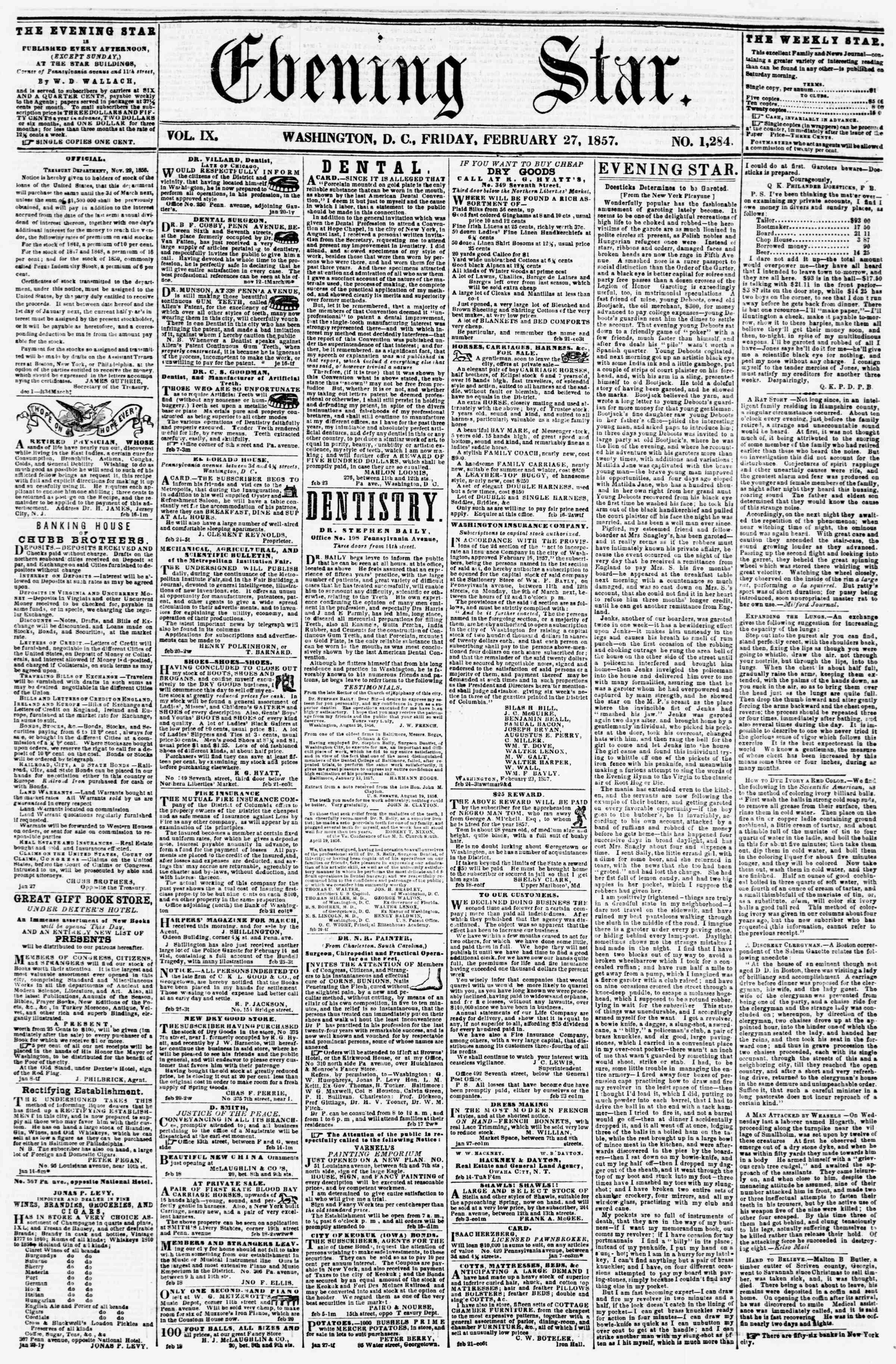 Newspaper of Evening Star dated February 27, 1857 Page 1