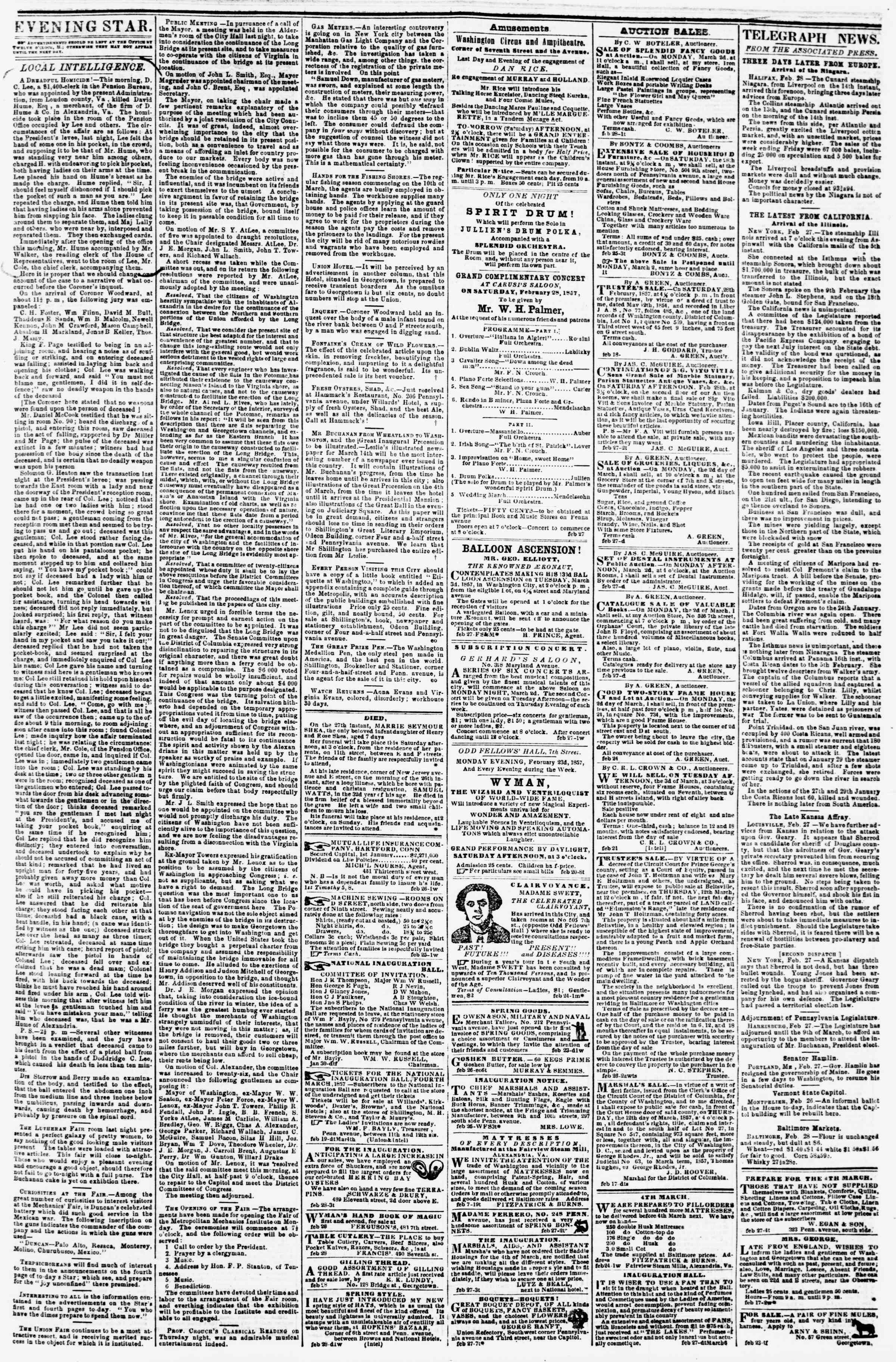 Newspaper of Evening Star dated February 28, 1857 Page 3