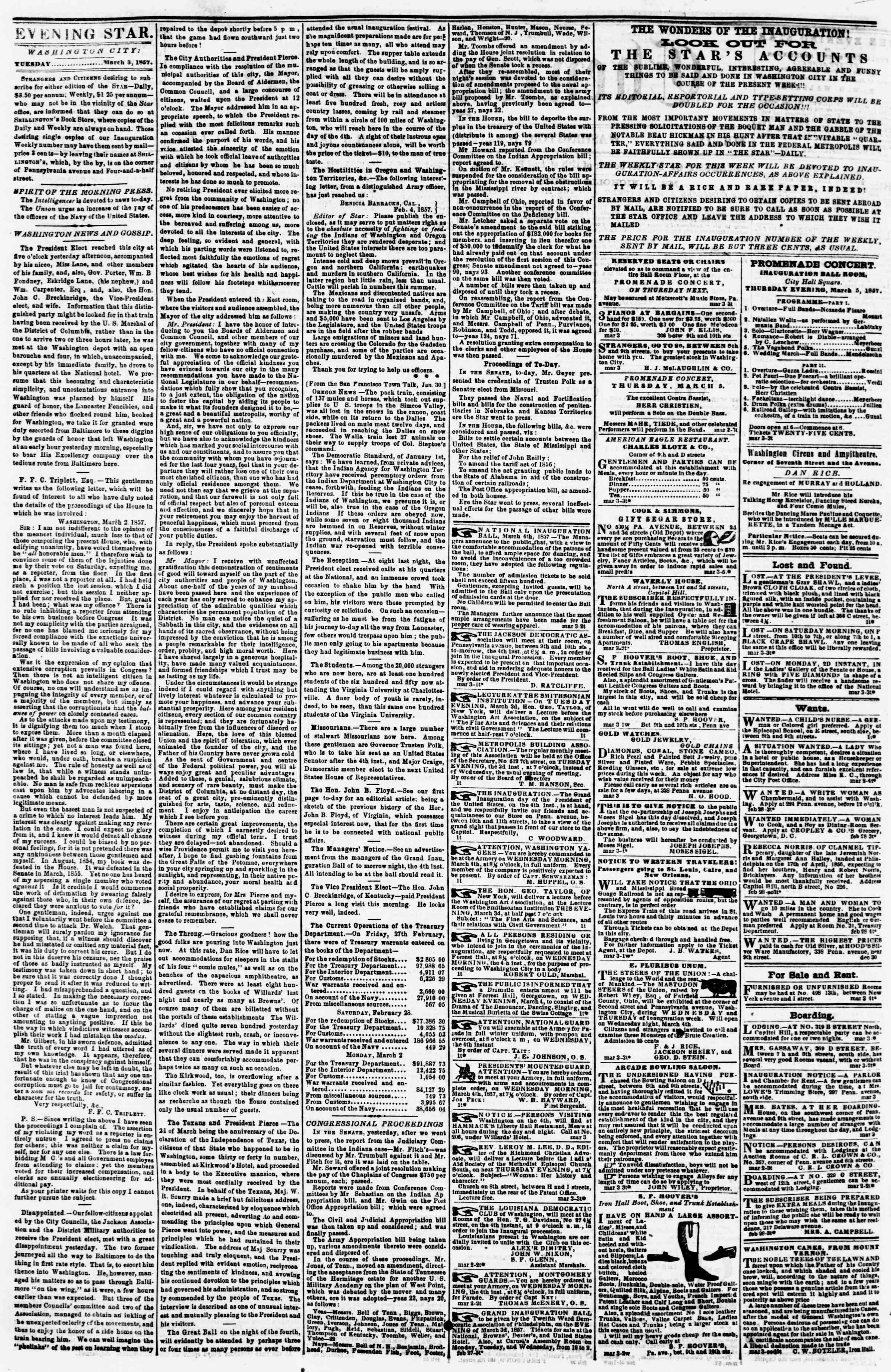 Newspaper of Evening Star dated March 3, 1857 Page 2