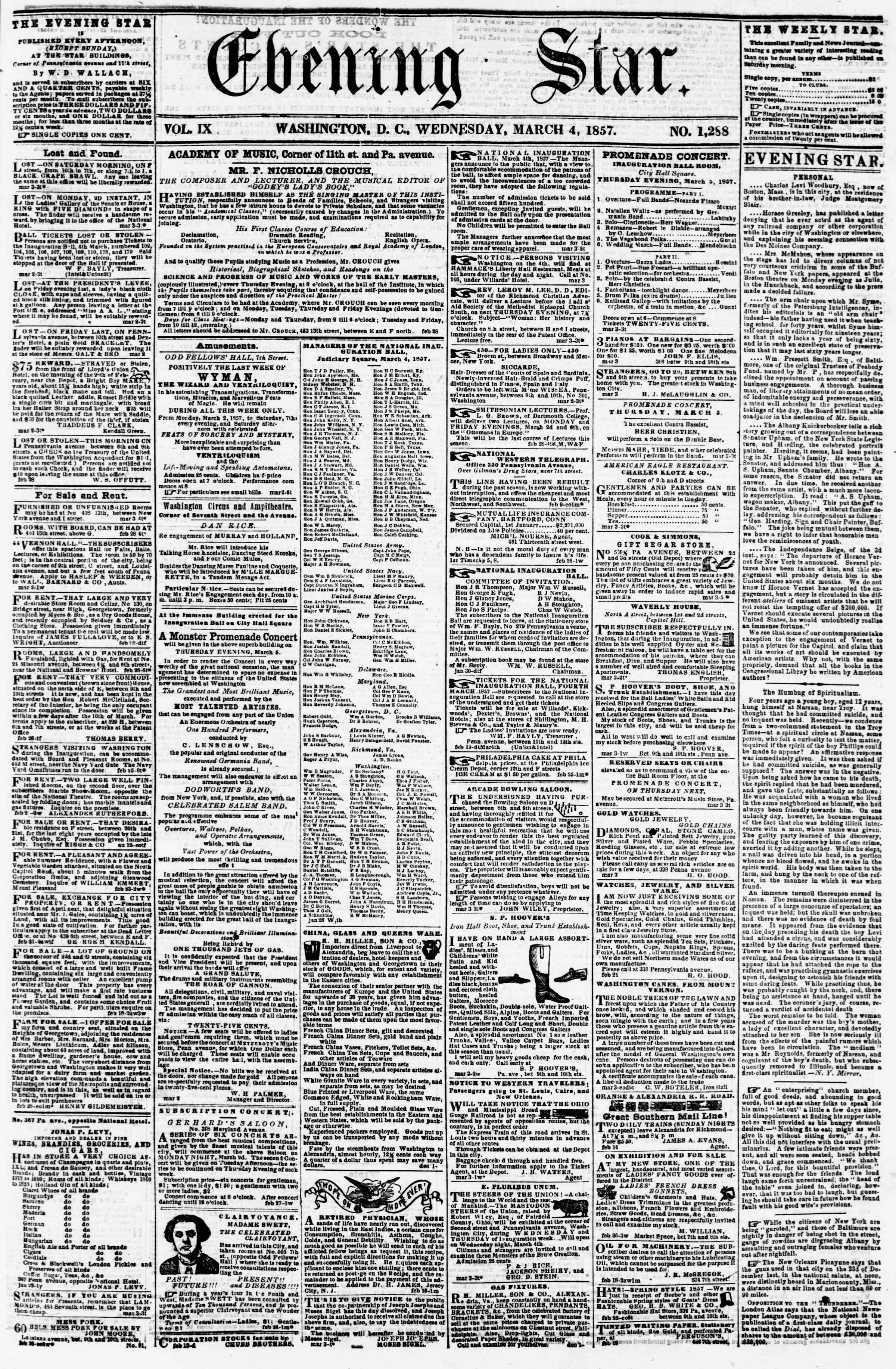 Newspaper of Evening Star dated March 4, 1857 Page 1