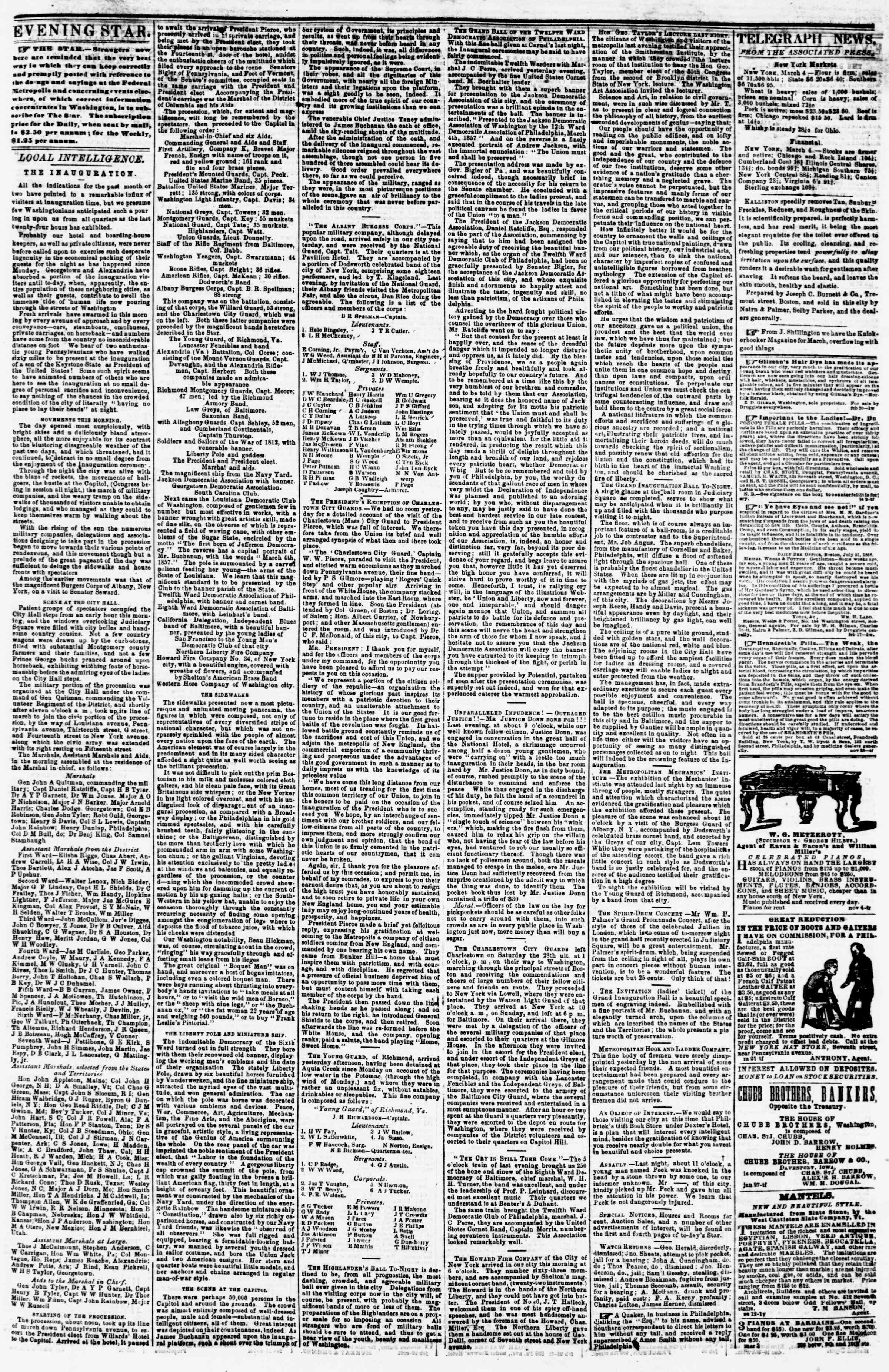 Newspaper of Evening Star dated March 4, 1857 Page 3