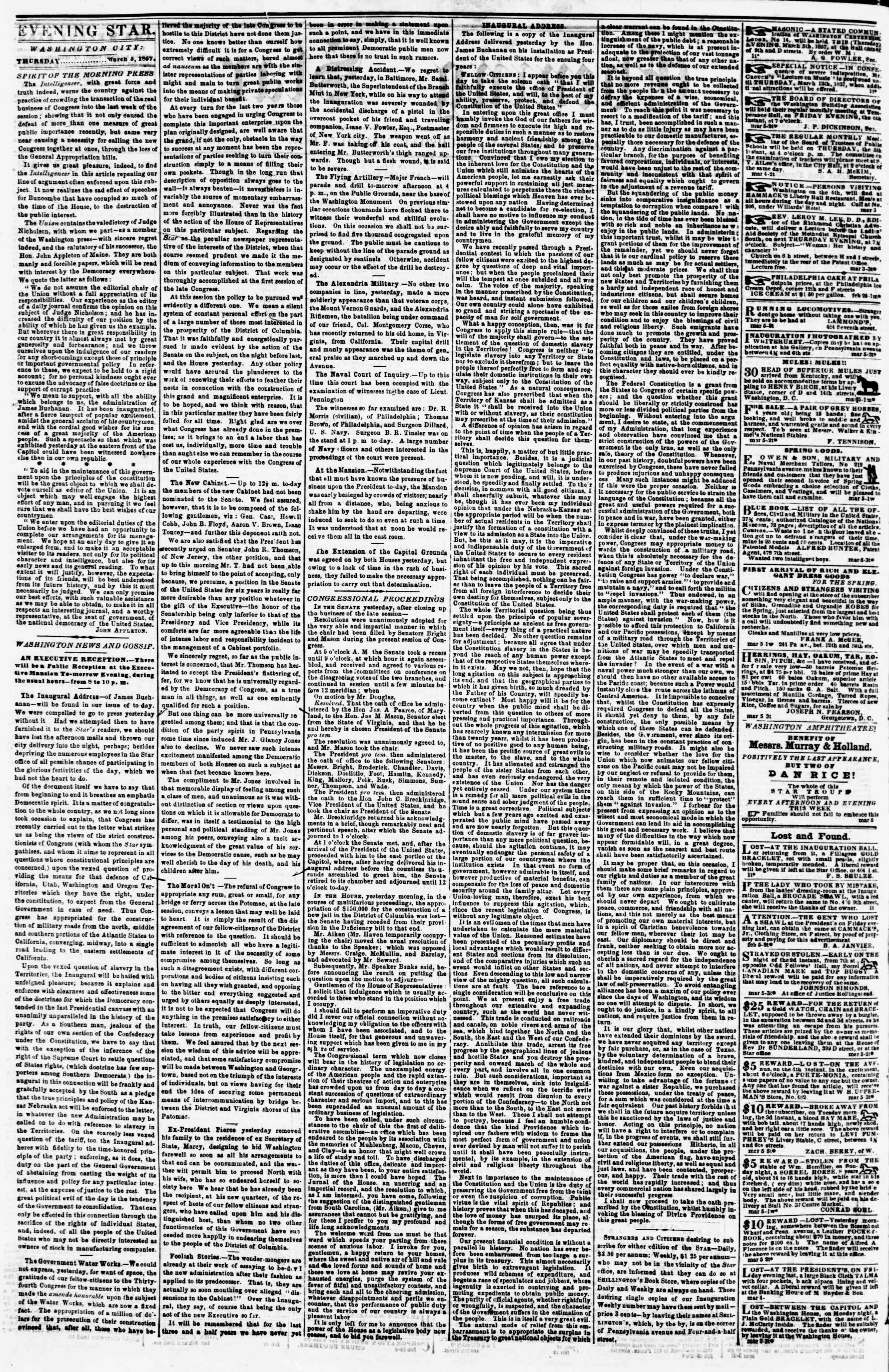 Newspaper of Evening Star dated March 5, 1857 Page 2