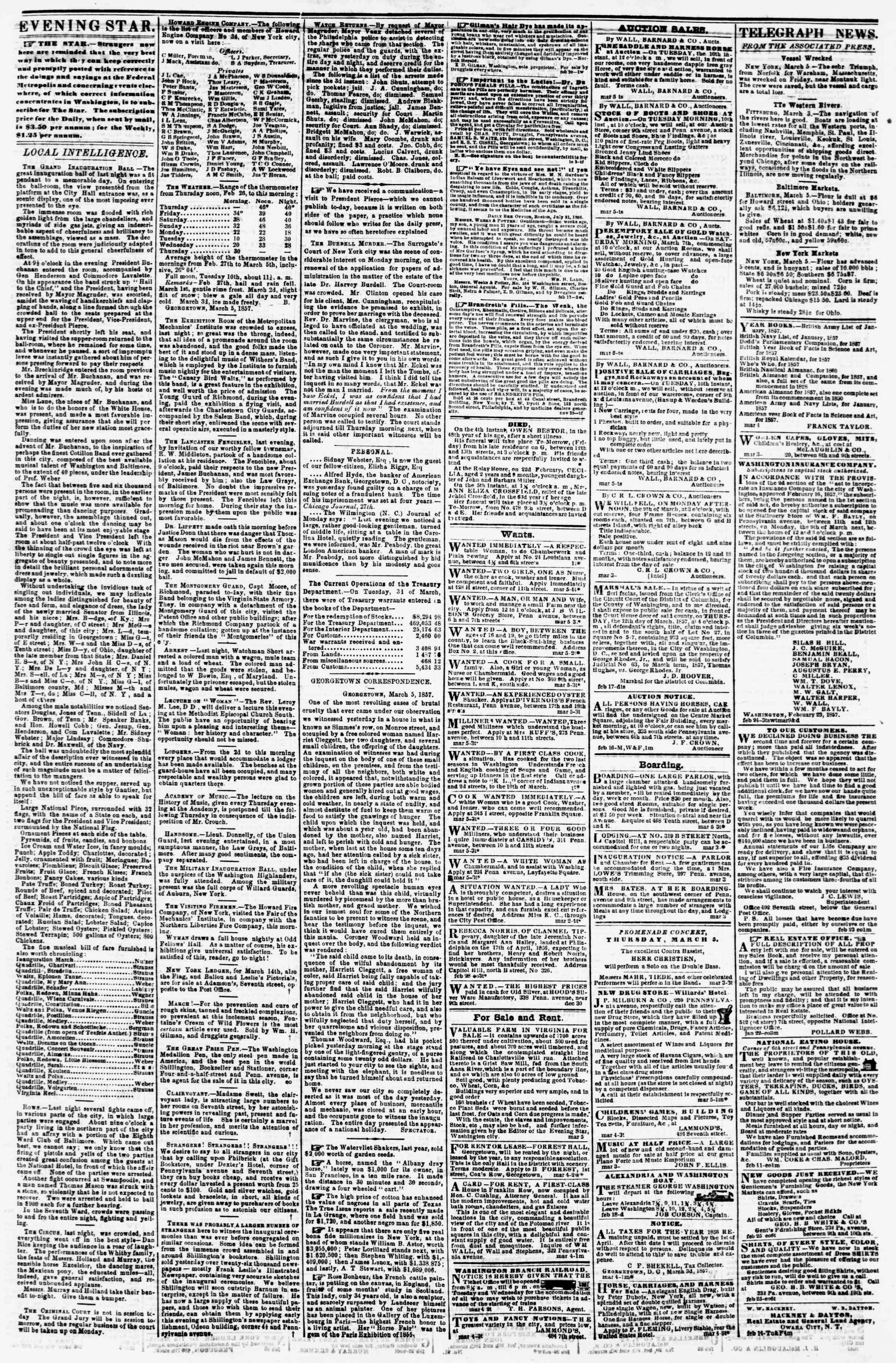 Newspaper of Evening Star dated March 5, 1857 Page 3