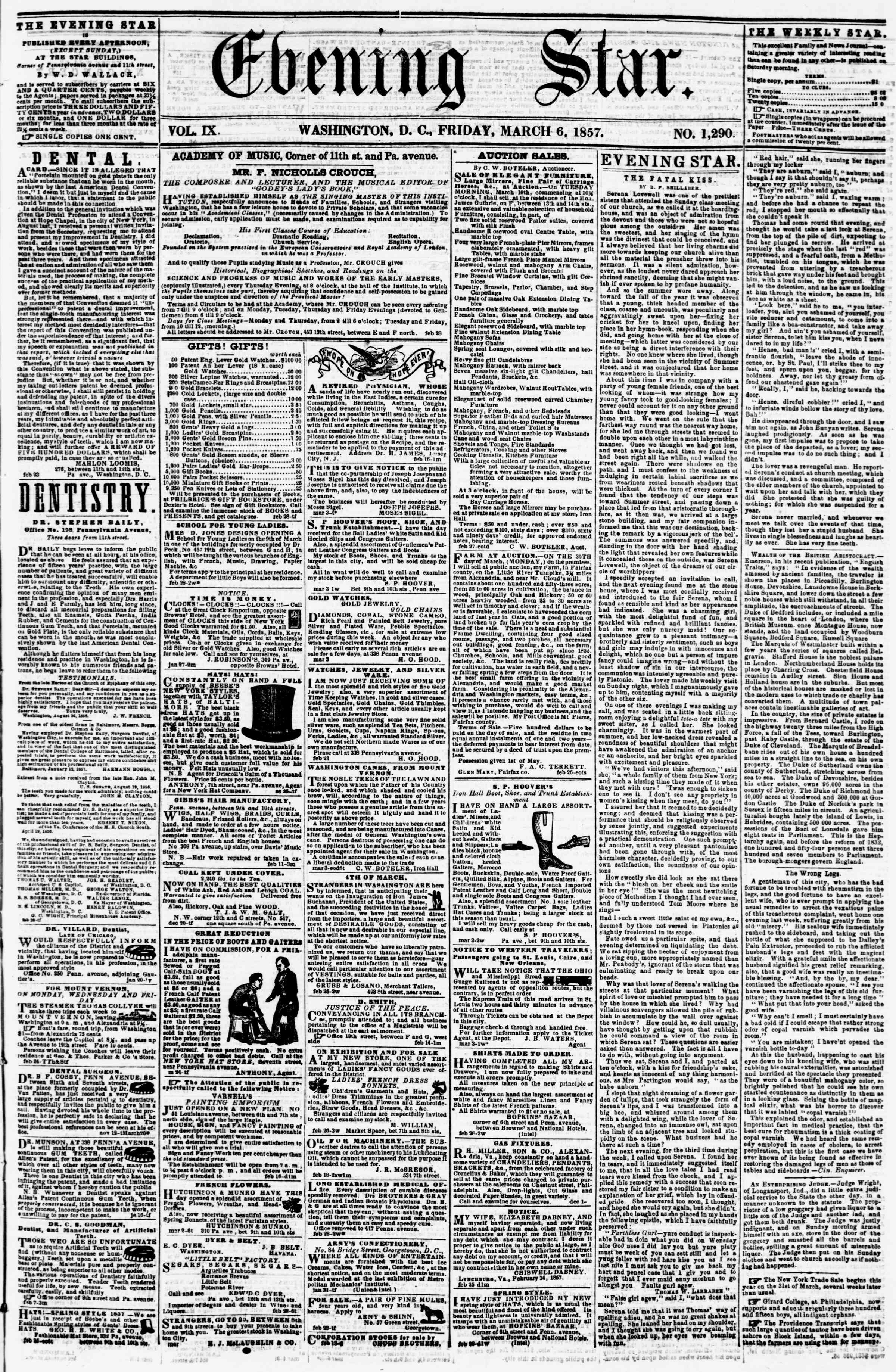 Newspaper of Evening Star dated March 6, 1857 Page 1