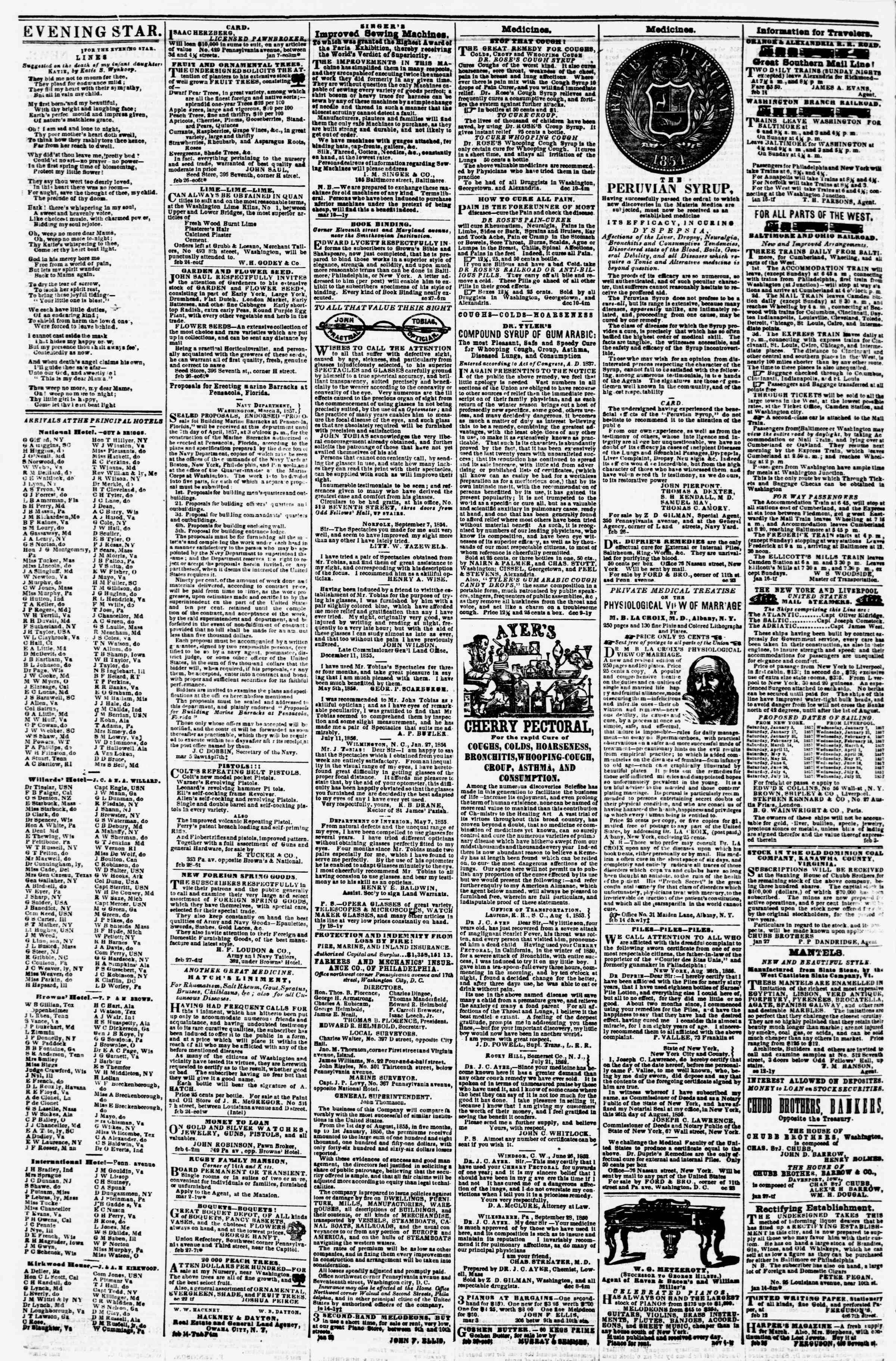 Newspaper of Evening Star dated March 6, 1857 Page 4