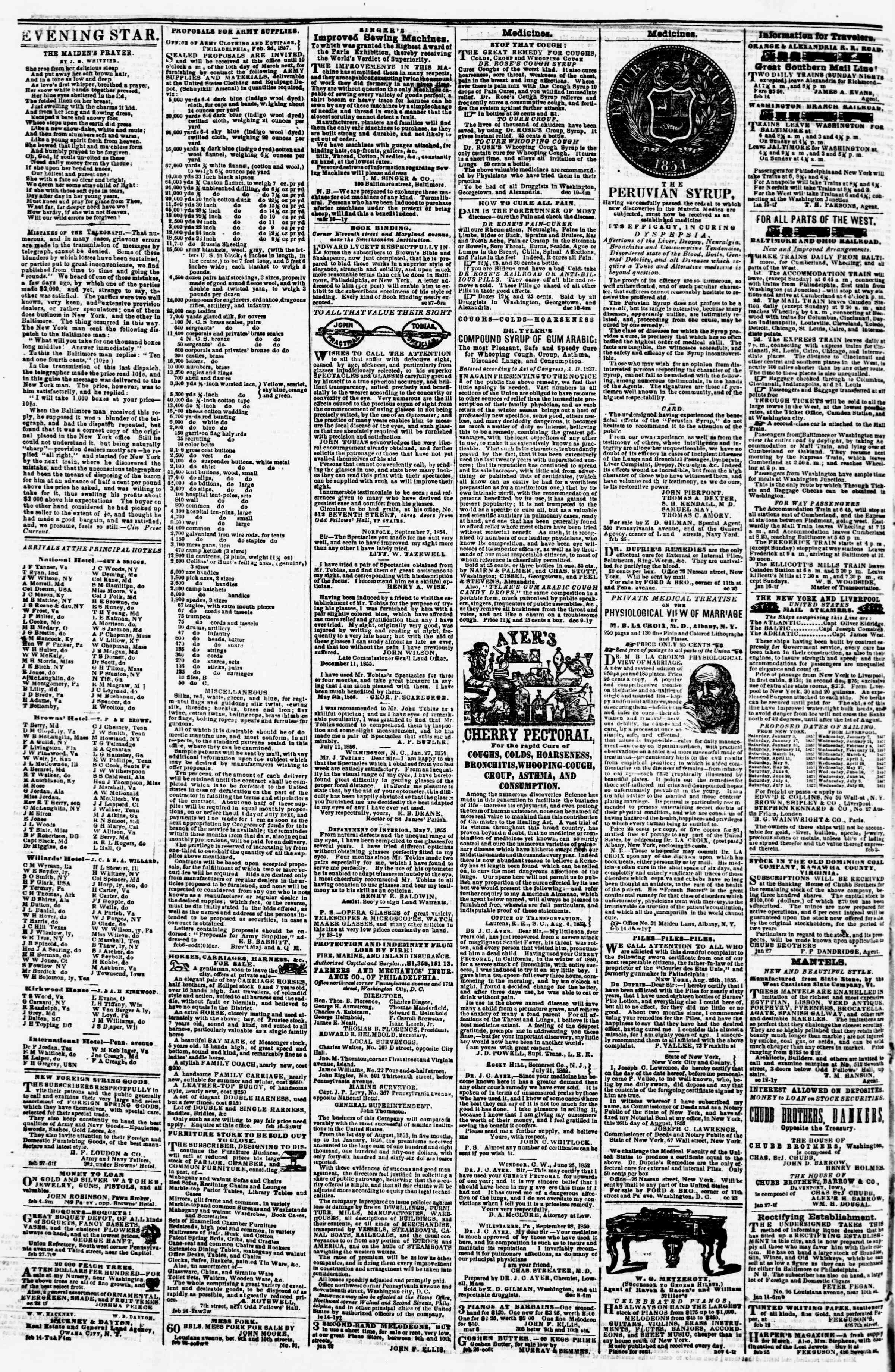 Newspaper of Evening Star dated March 7, 1857 Page 4