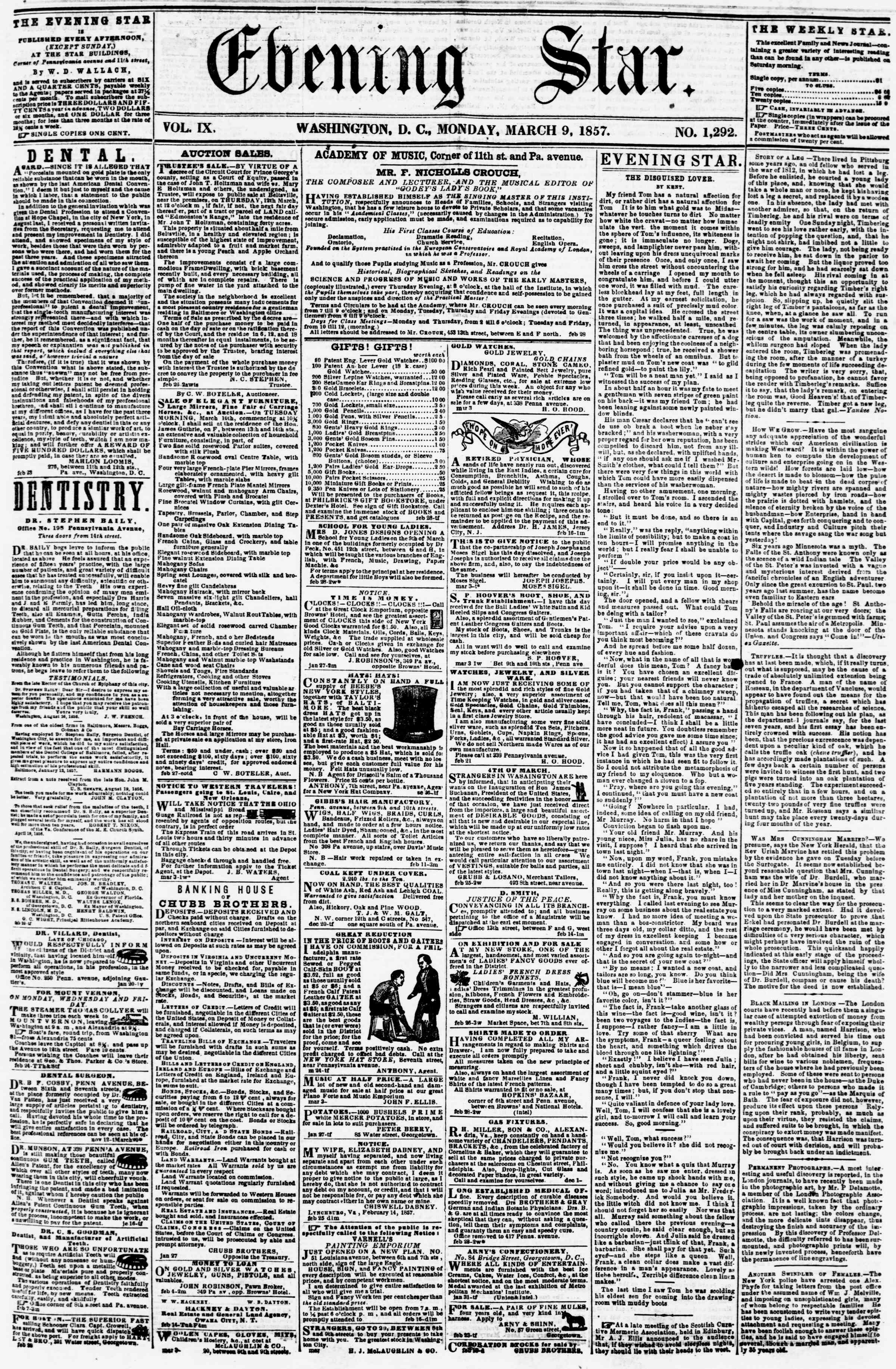 Newspaper of Evening Star dated March 9, 1857 Page 1