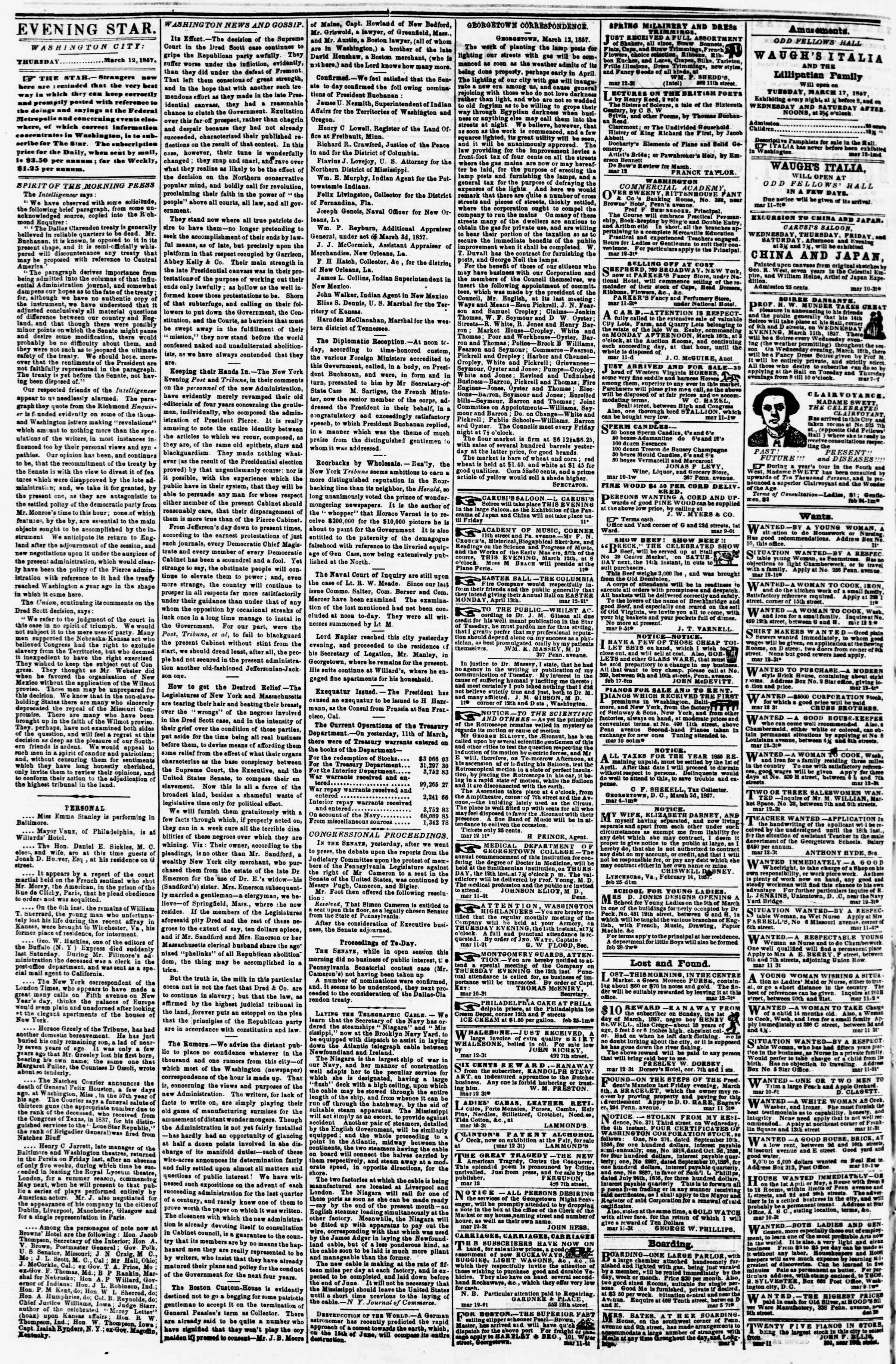 Newspaper of Evening Star dated March 12, 1857 Page 2