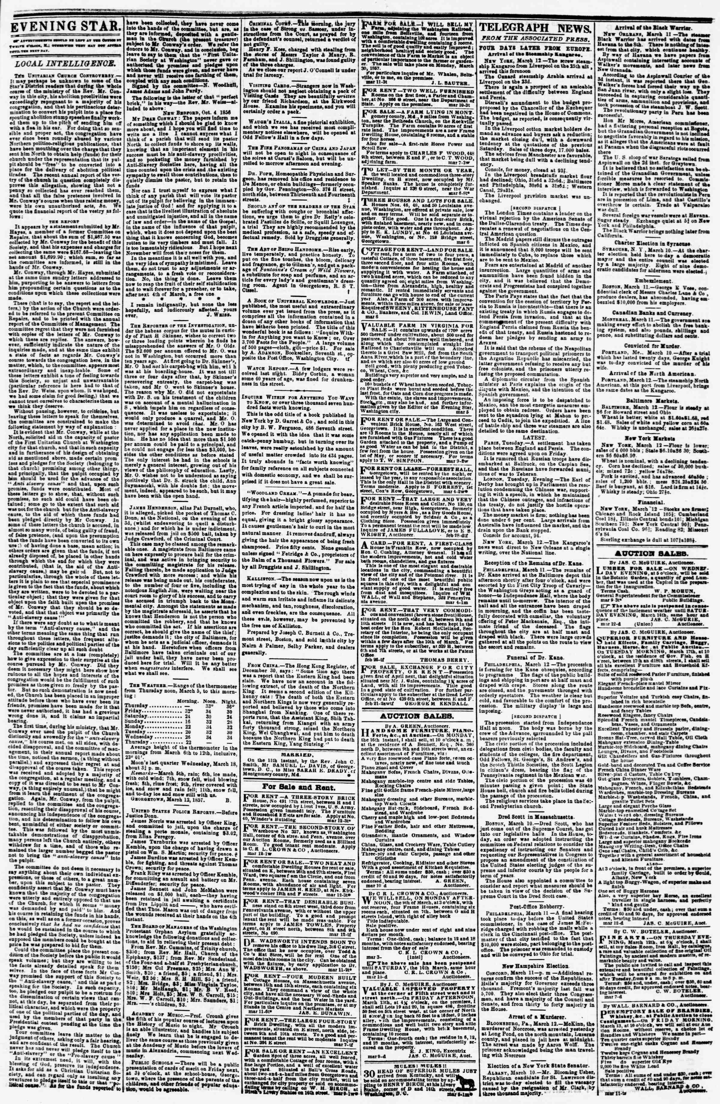 Newspaper of Evening Star dated March 12, 1857 Page 3