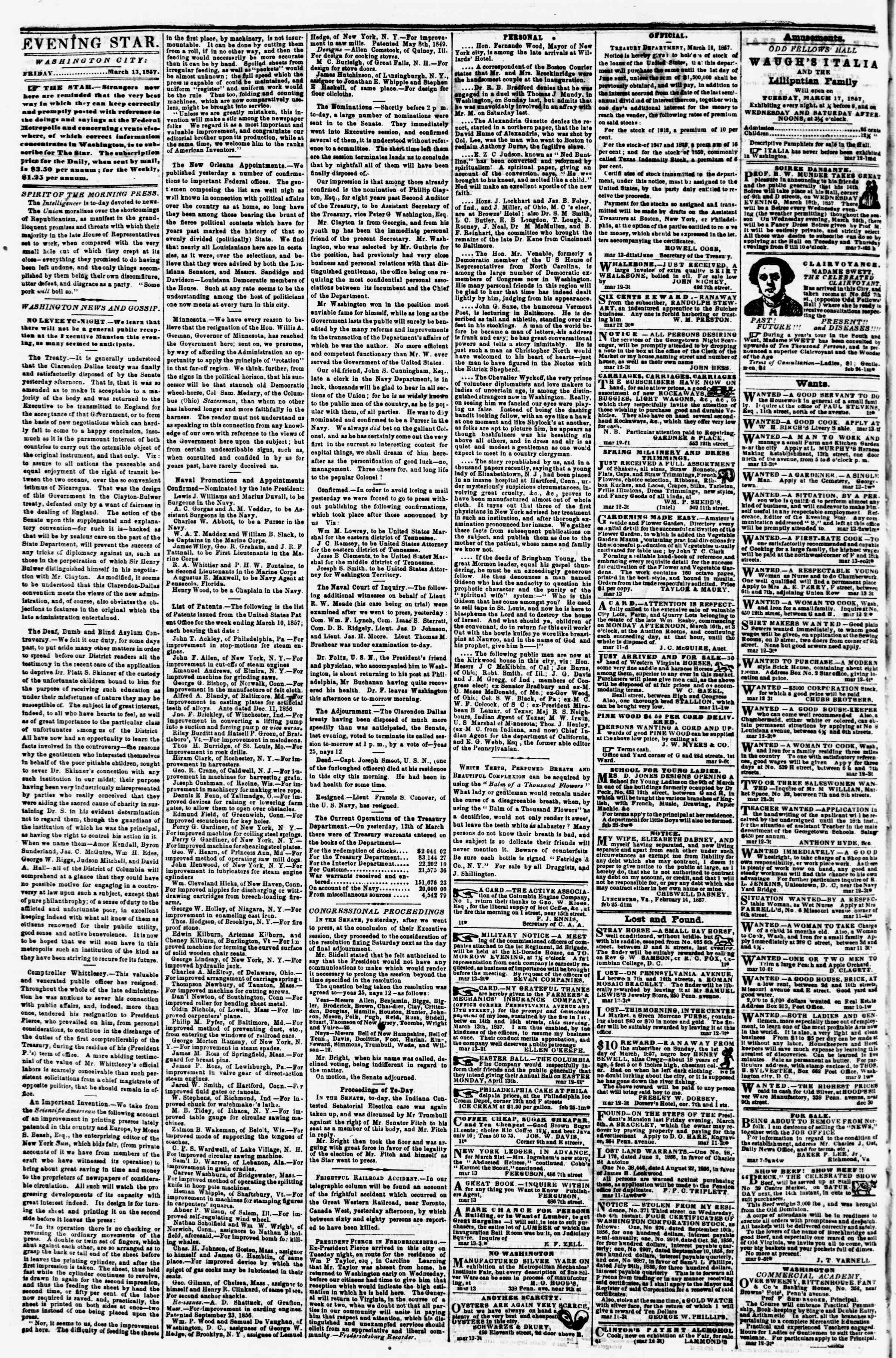 Newspaper of Evening Star dated March 13, 1857 Page 2