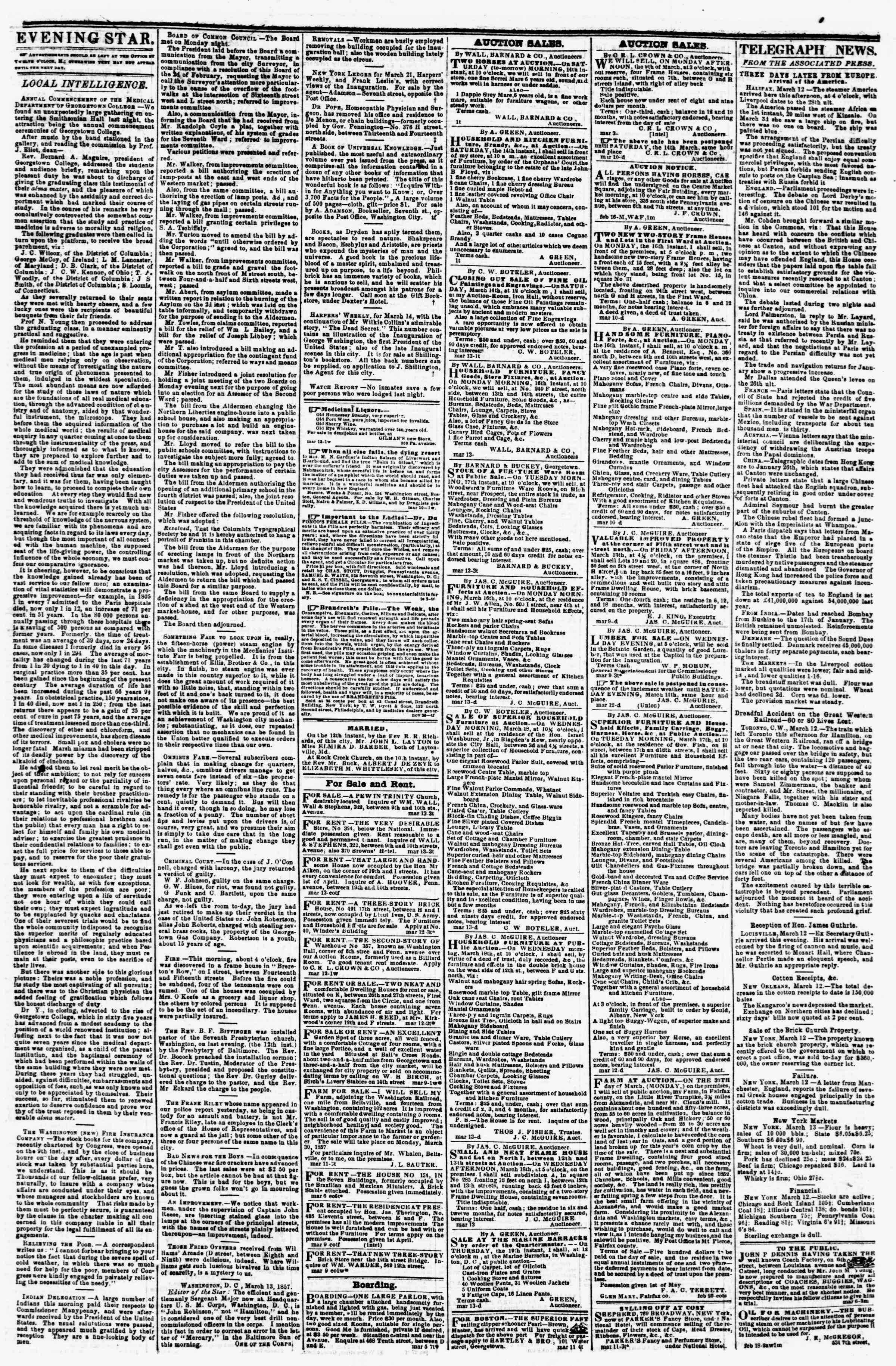 Newspaper of Evening Star dated March 13, 1857 Page 3