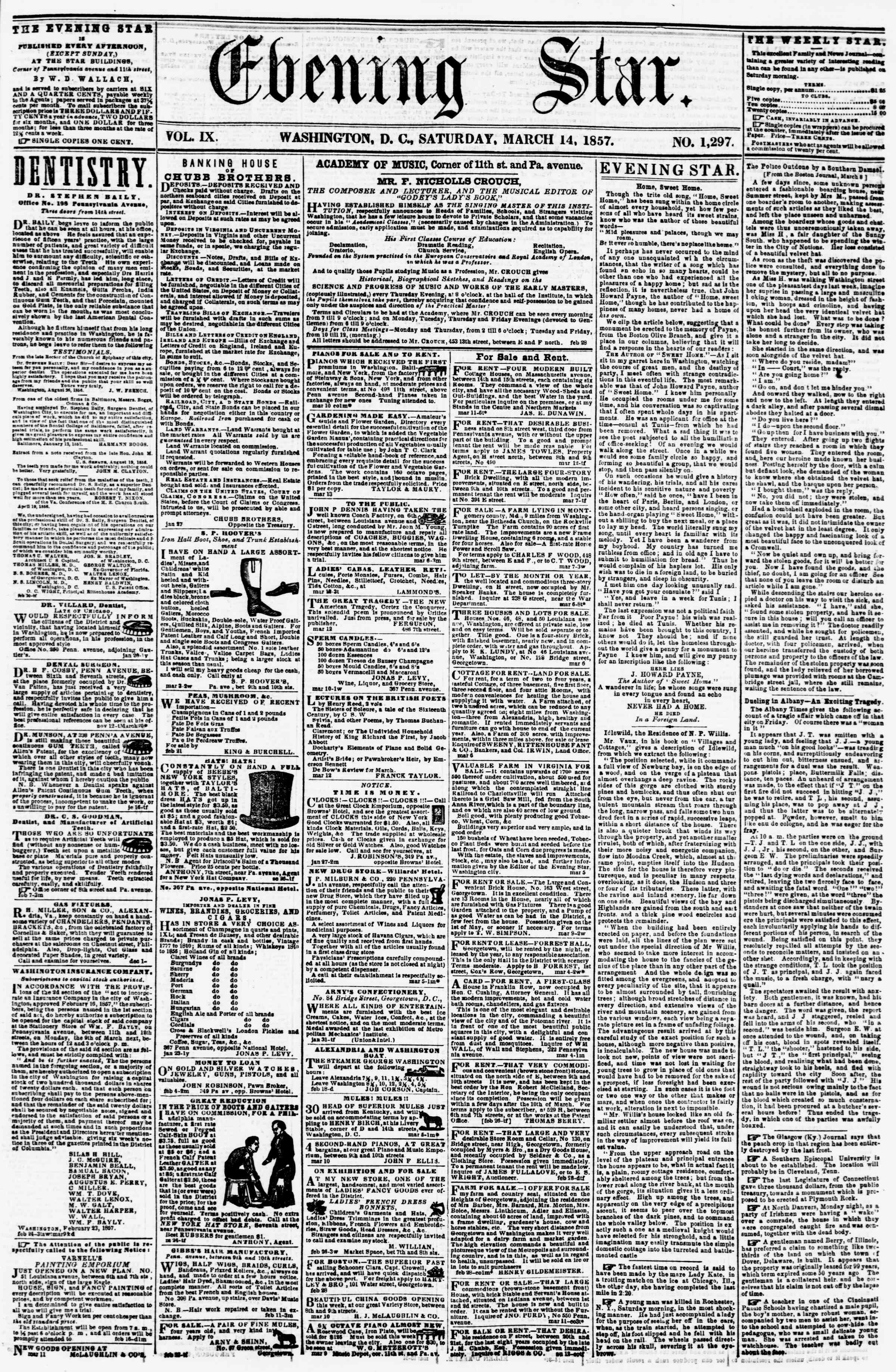 Newspaper of Evening Star dated March 14, 1857 Page 1