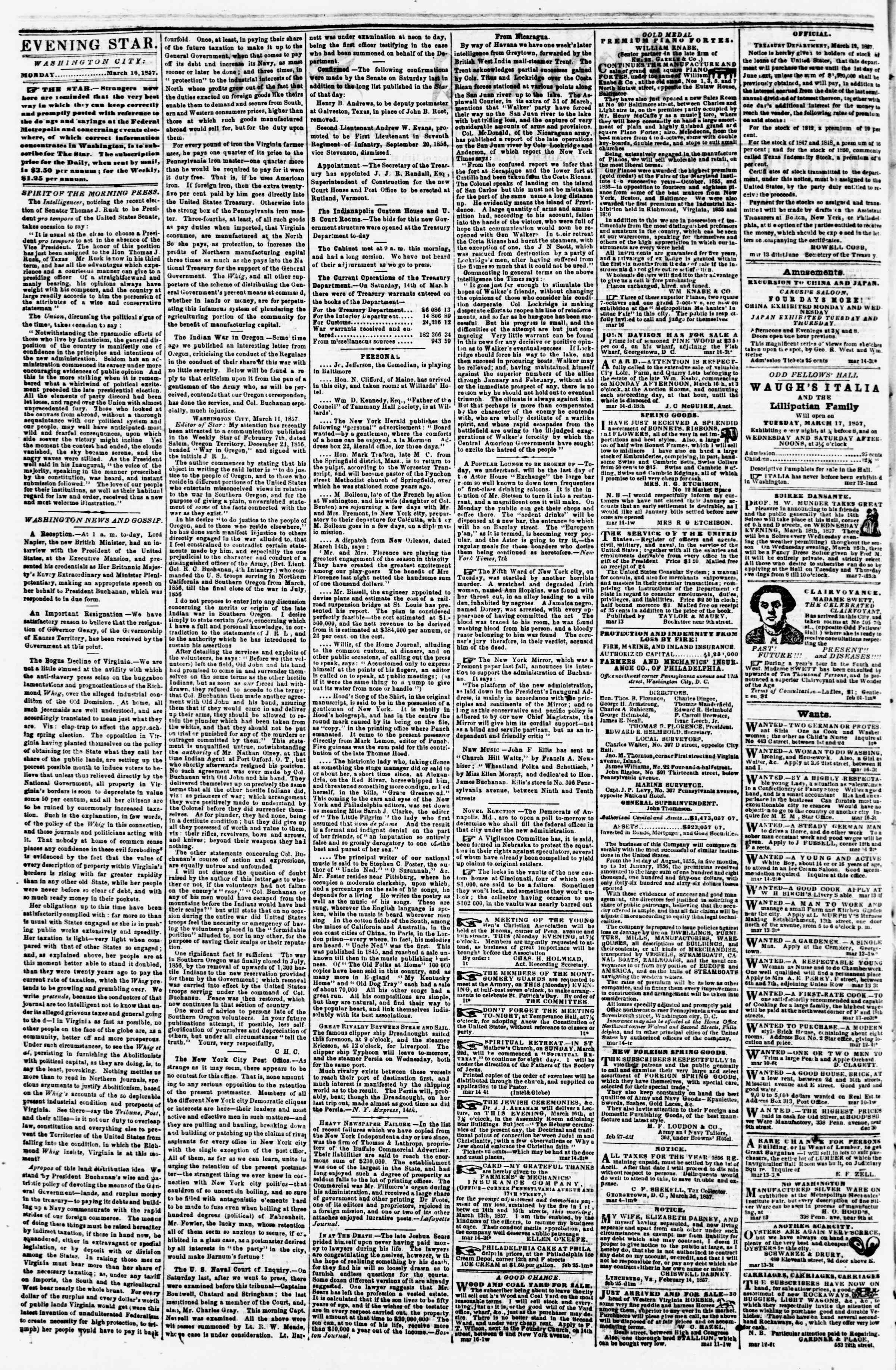 Newspaper of Evening Star dated March 16, 1857 Page 2