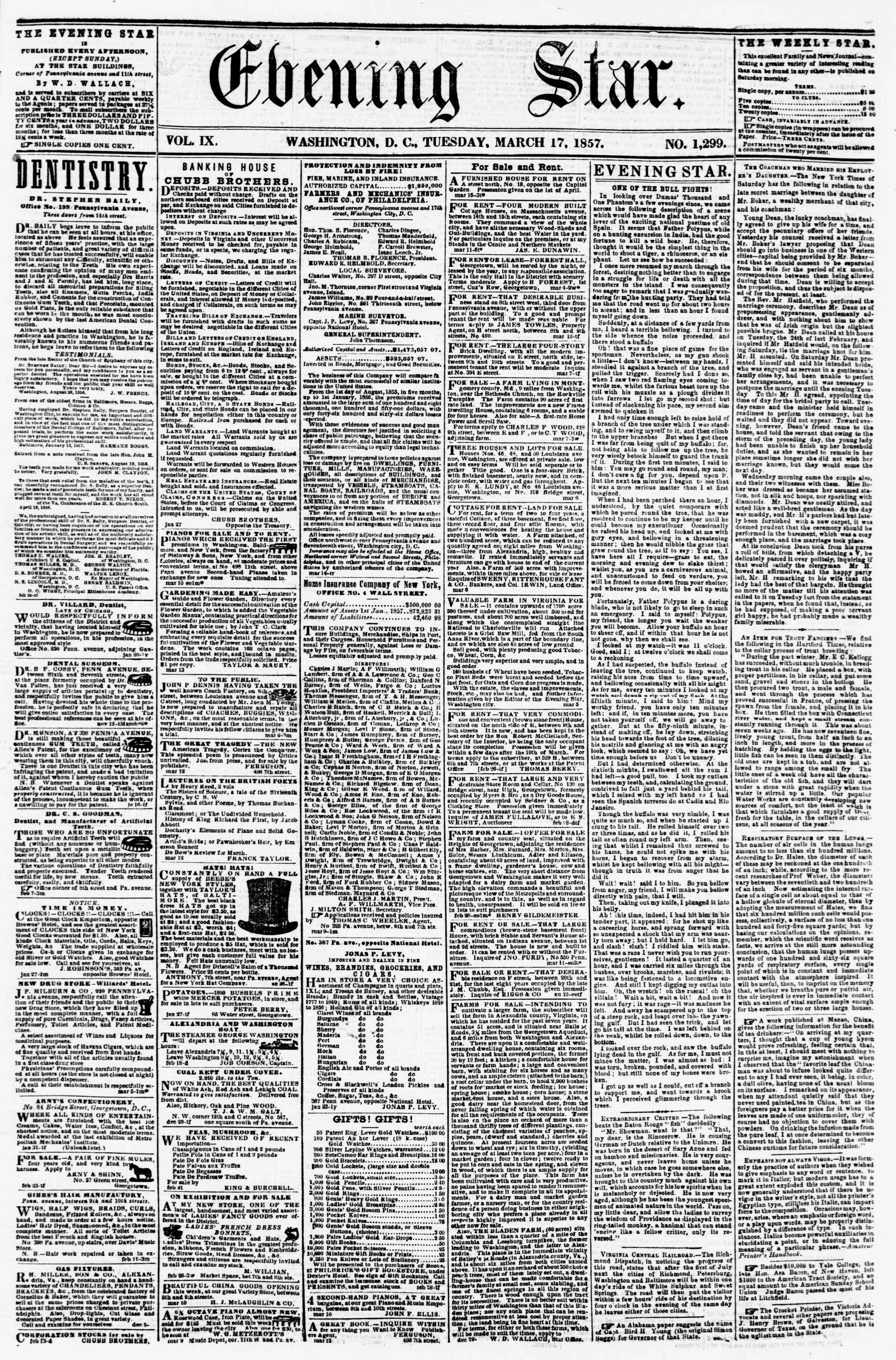 Newspaper of Evening Star dated March 17, 1857 Page 1