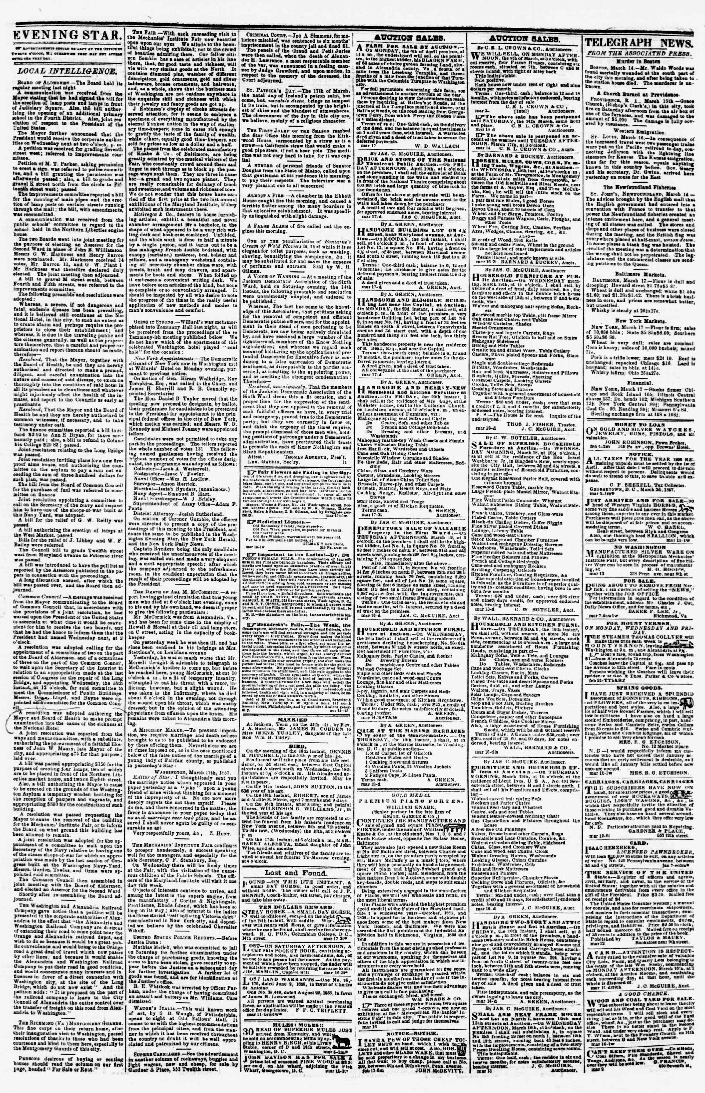 Newspaper of Evening Star dated March 17, 1857 Page 3