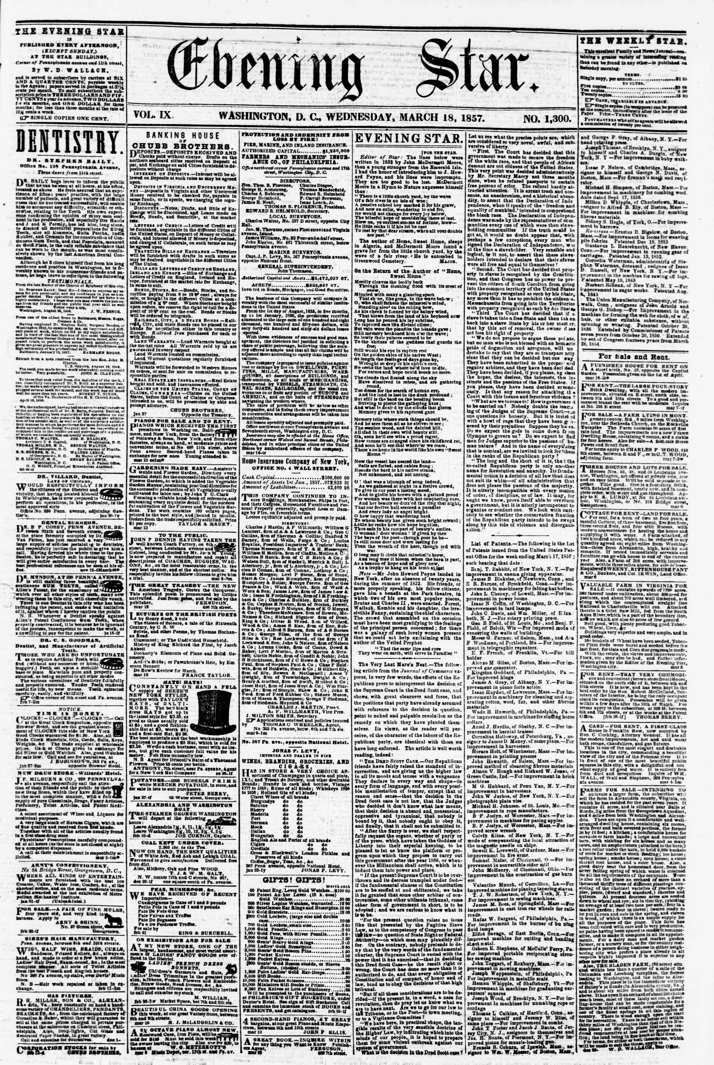 Newspaper of Evening Star dated March 18, 1857 Page 1