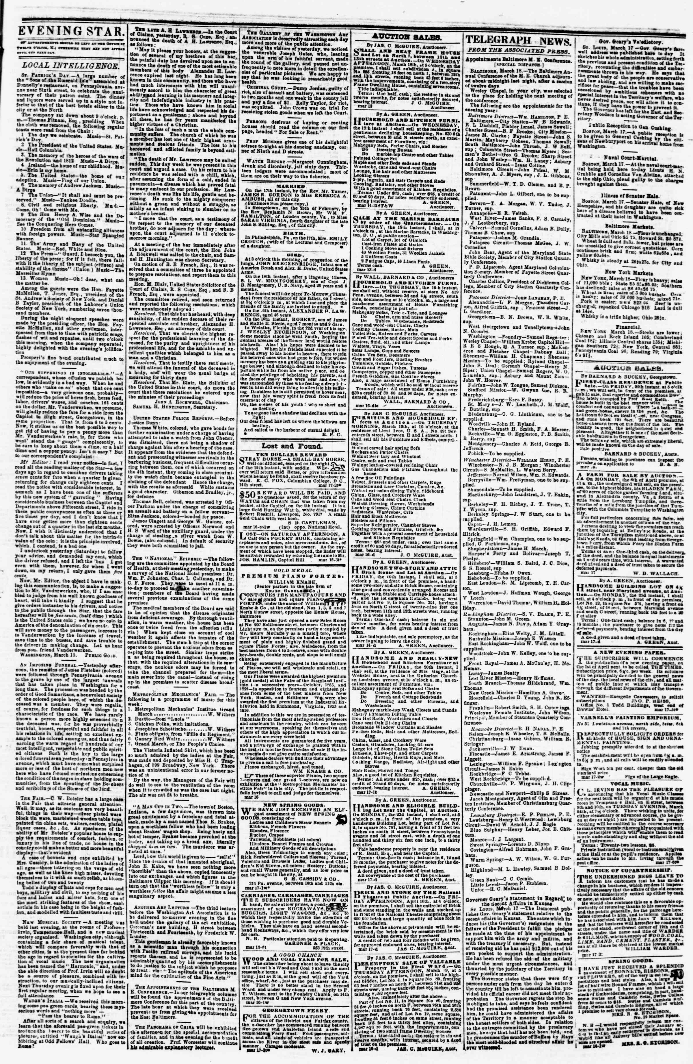 Newspaper of Evening Star dated March 18, 1857 Page 3