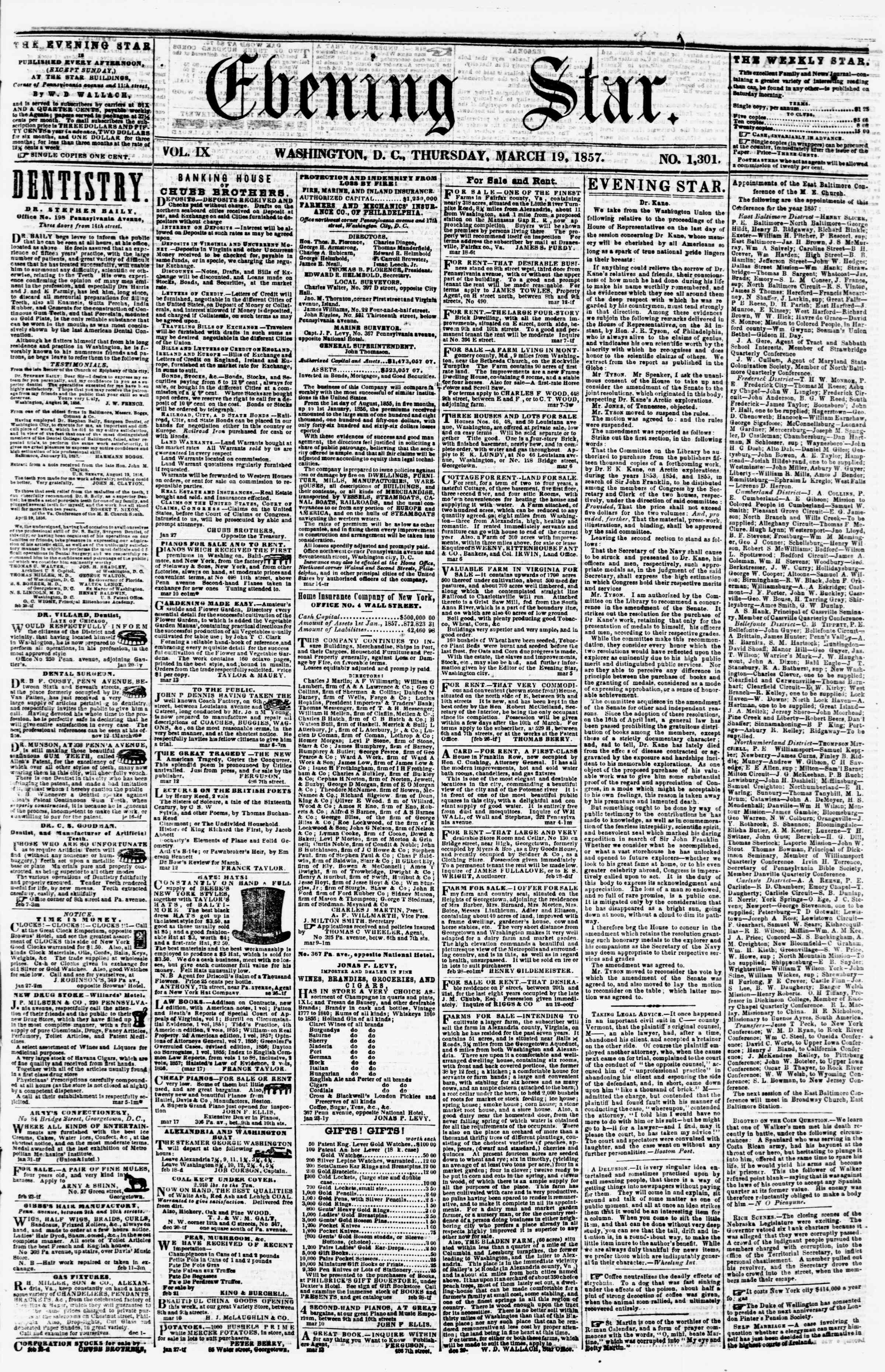 Newspaper of Evening Star dated March 19, 1857 Page 1